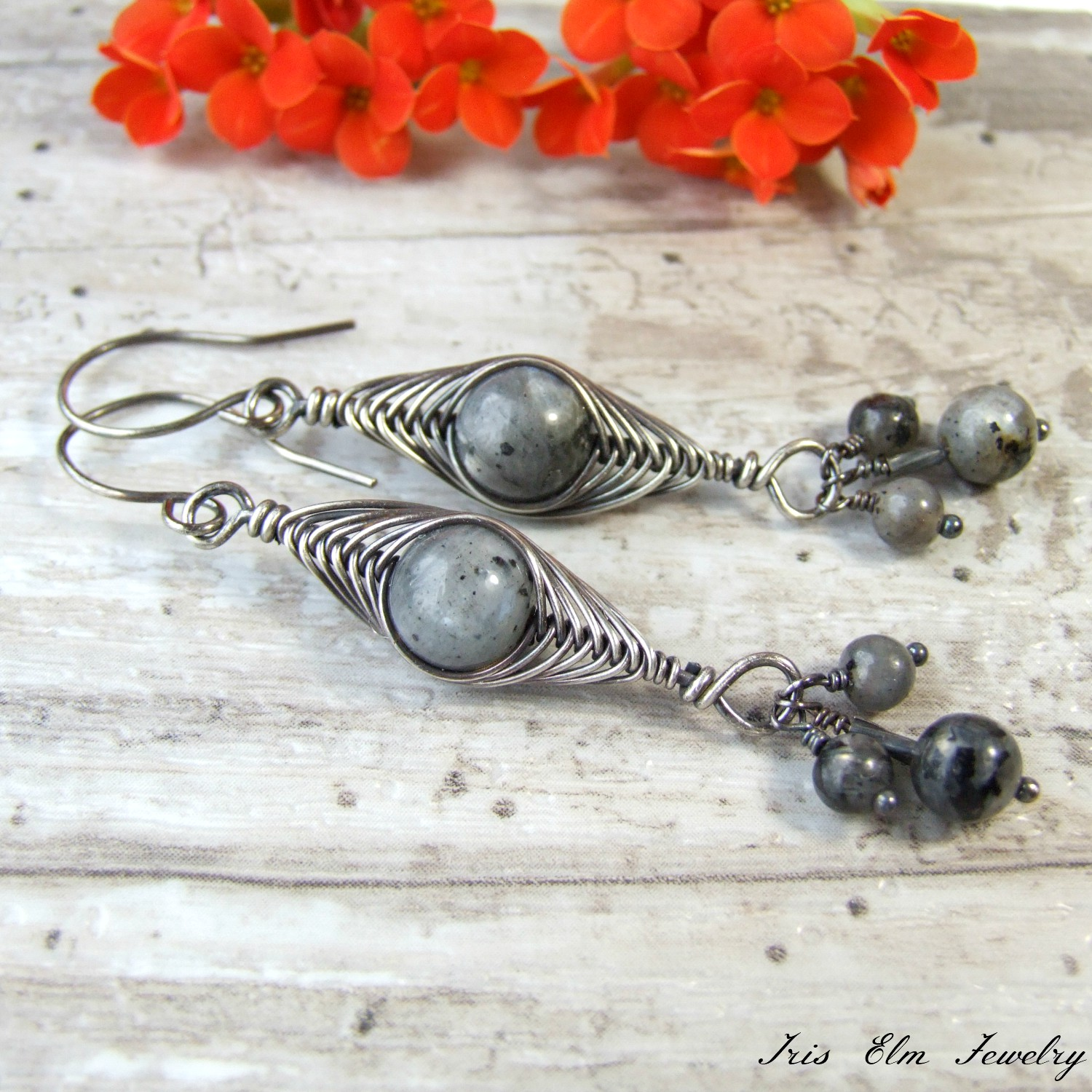 Sterling Herringbone Wire Wrapped Larvikite Boho Earrings