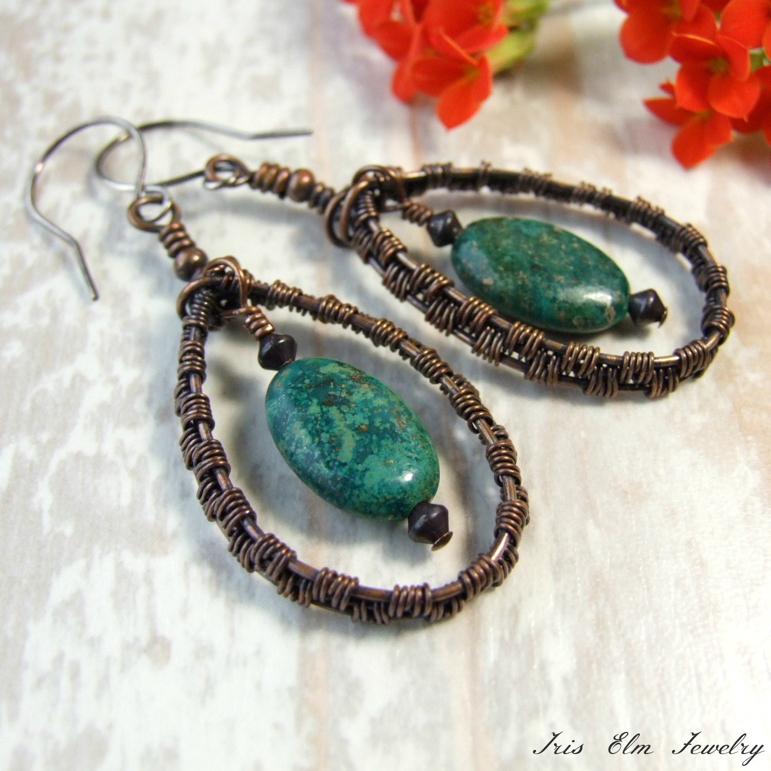 Genuine Turquoise Copper Wire Woven Teardrop Earrings