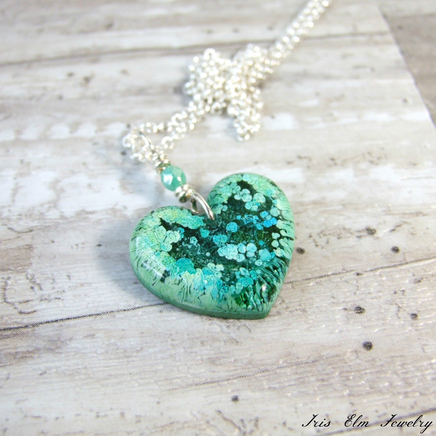 Small Blue-Green Resin Alcohol Ink Heart Pendant Necklace