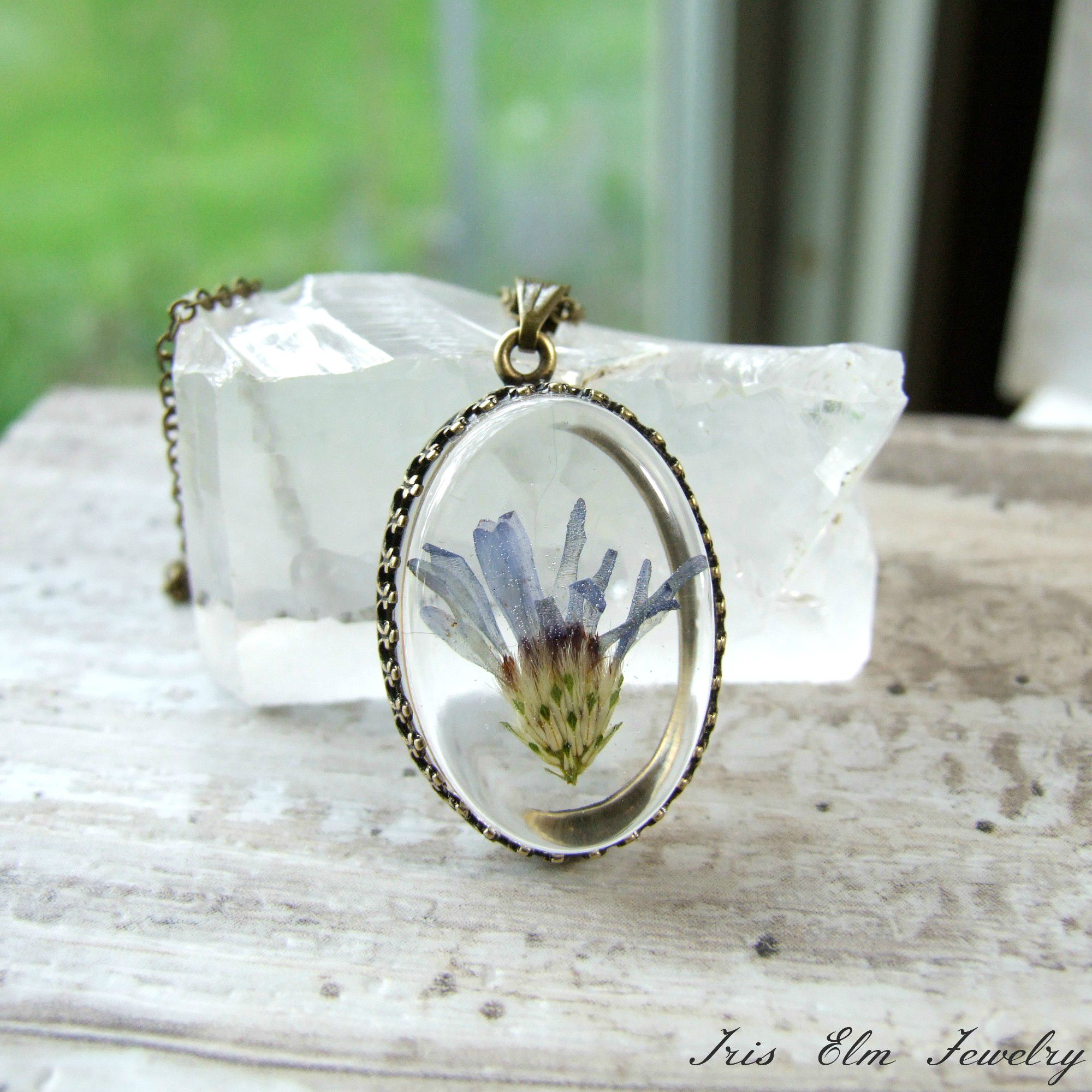 Small Purple Aster Wildflower Antiqued Brass Necklace