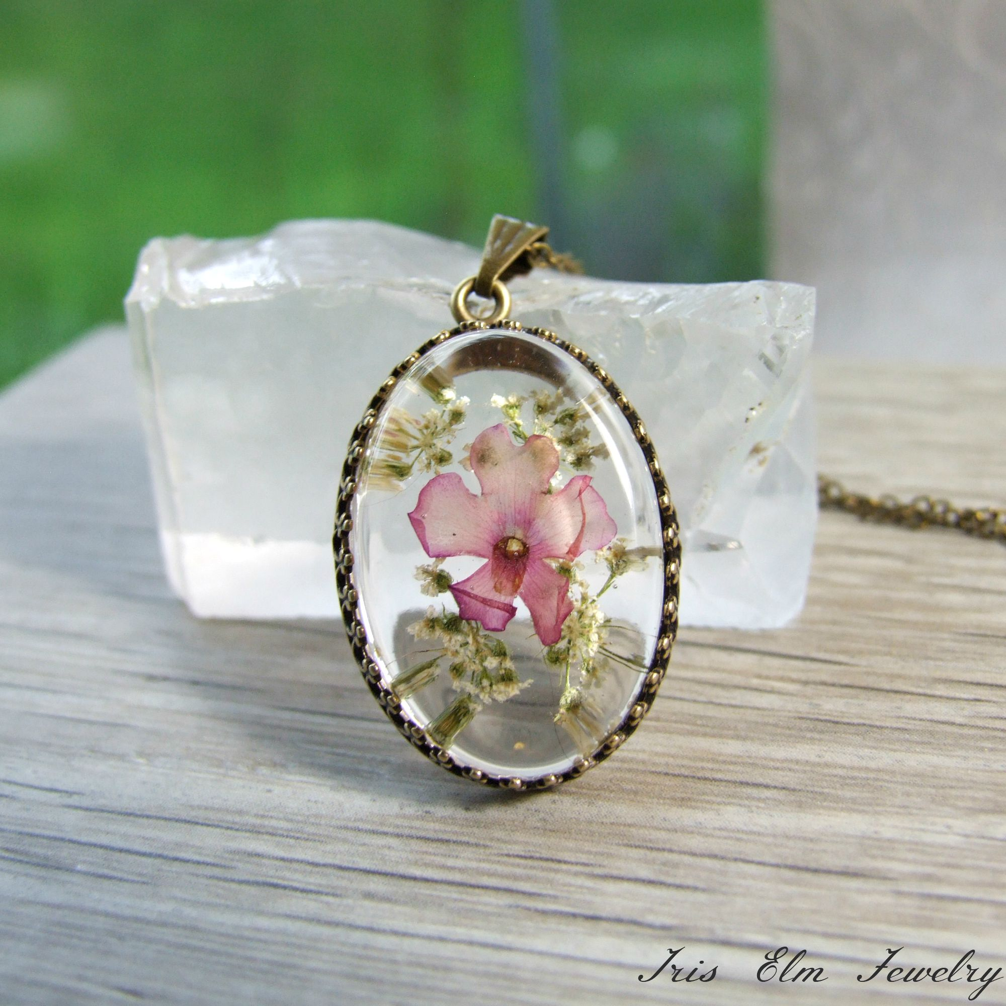 Pretty Pink Real Pressed Flower Pendant Necklace