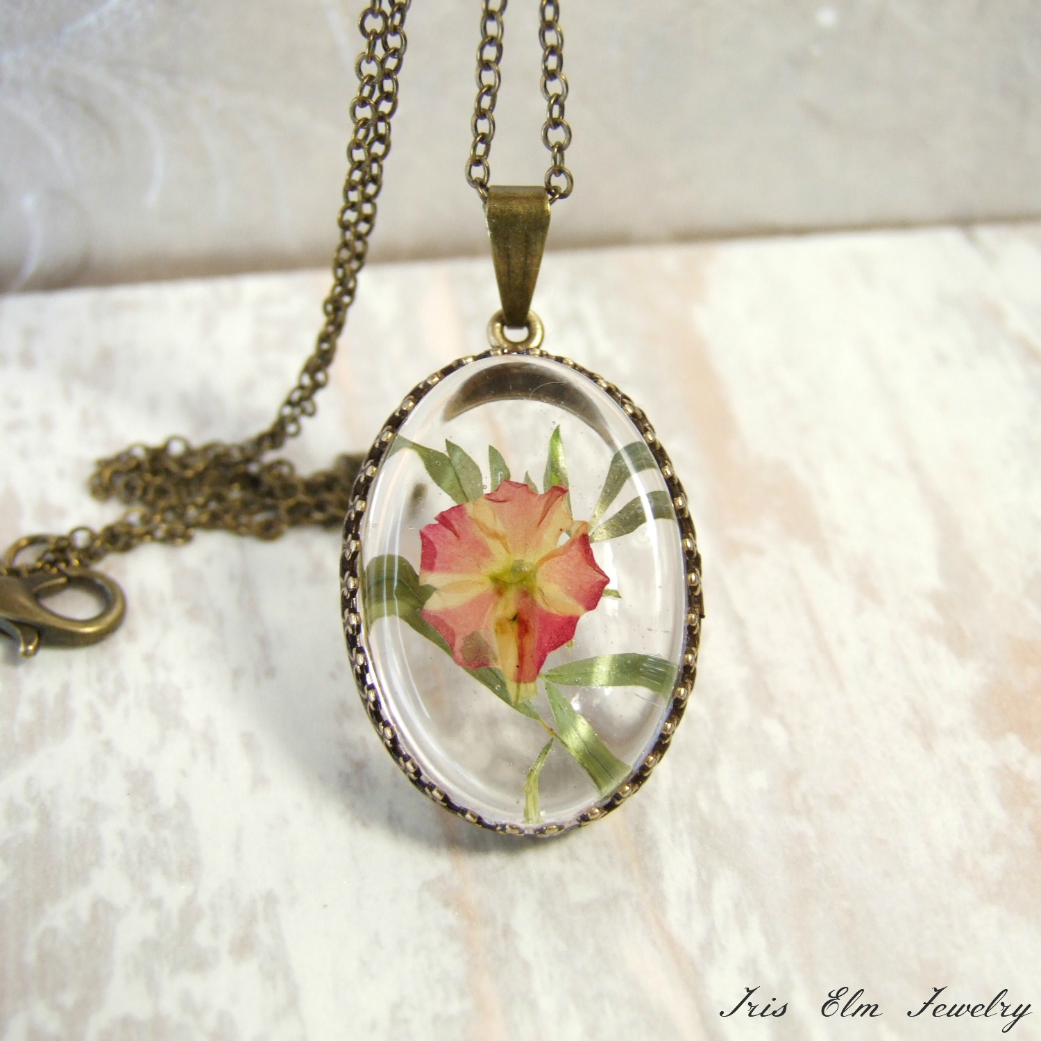 Small Pink Pressed Flower Antiqued Brass Necklace