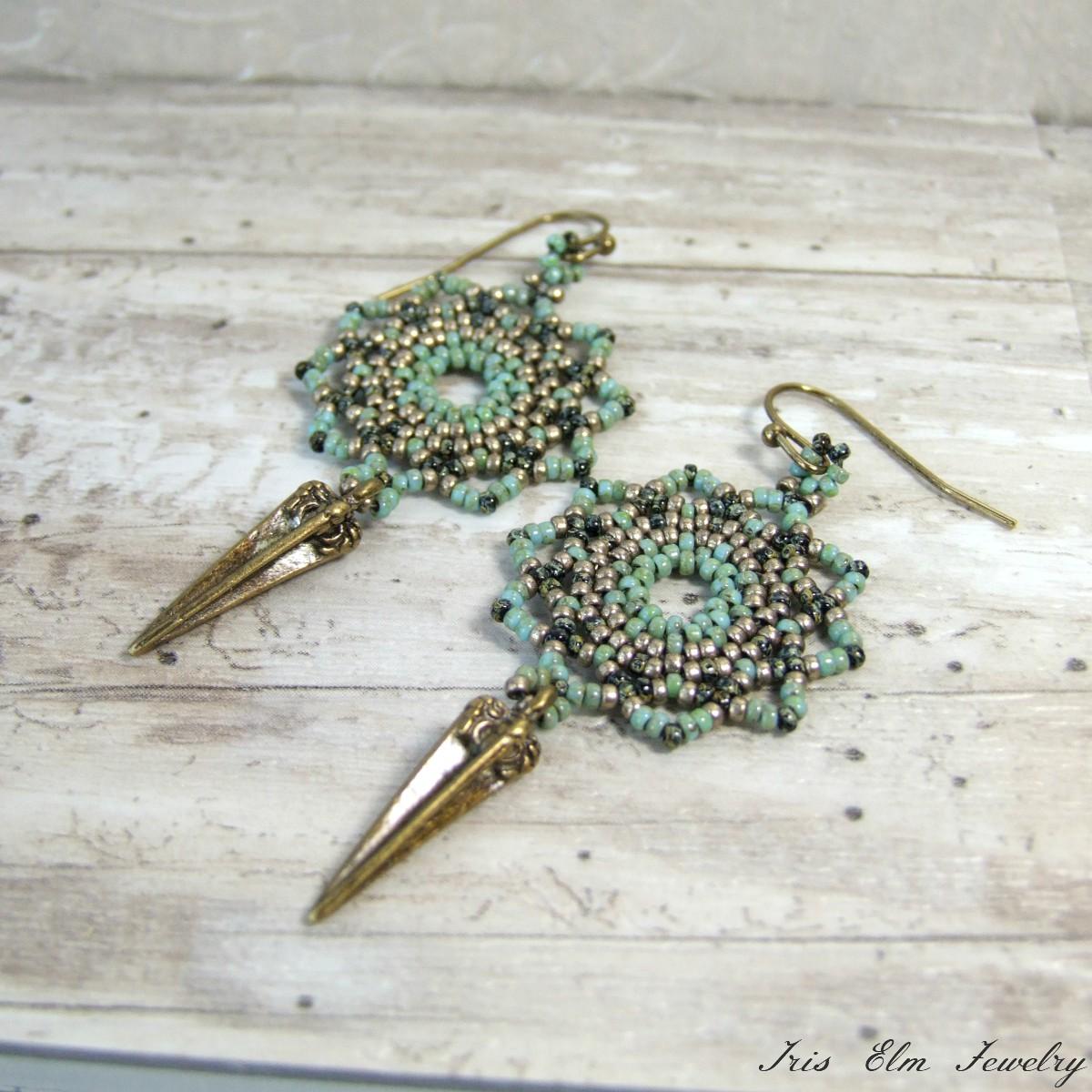Seafoam Green Boho Brass Mandala Earrings