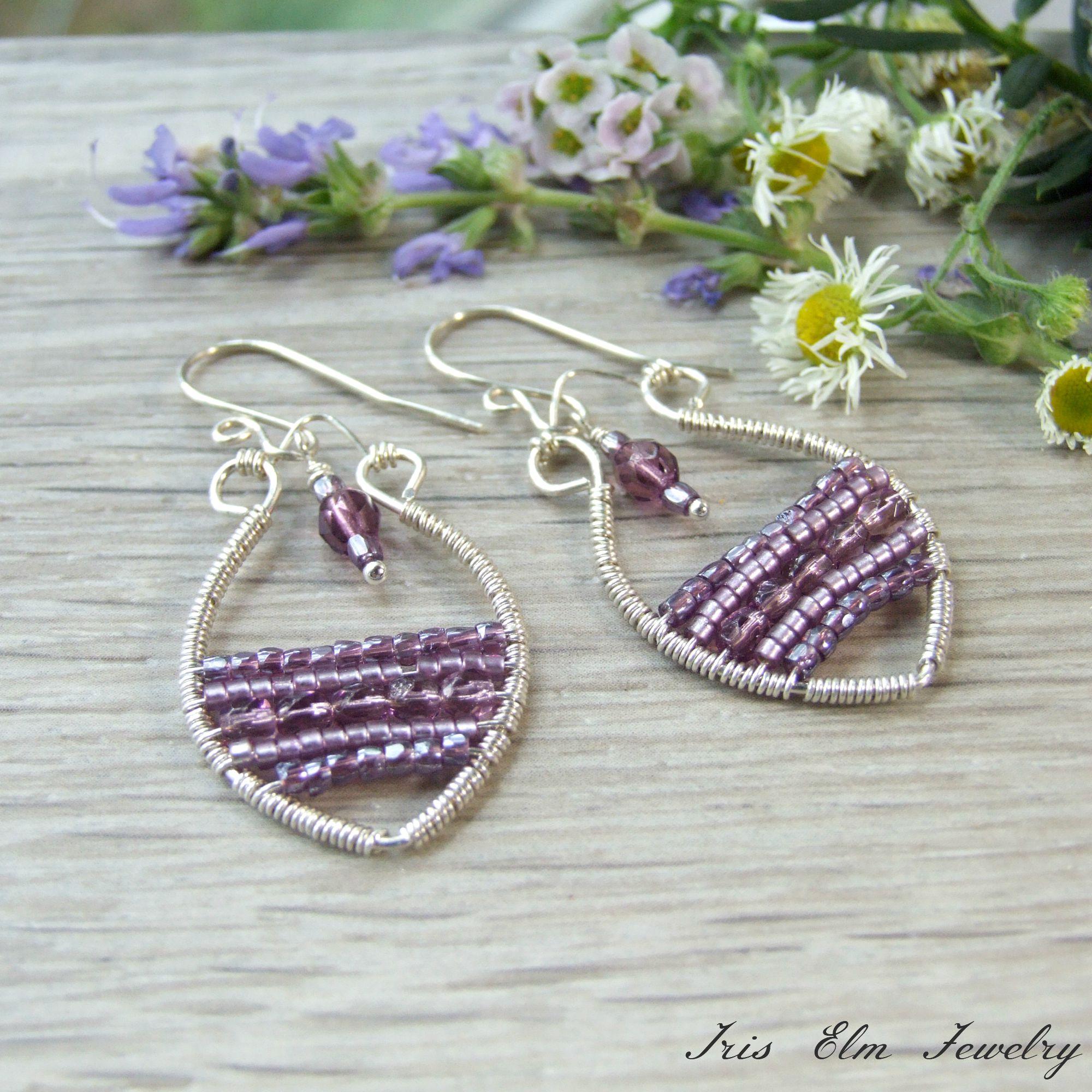 Bohemian Purple Glass Sterling Silver Wire Wrapped Earrings