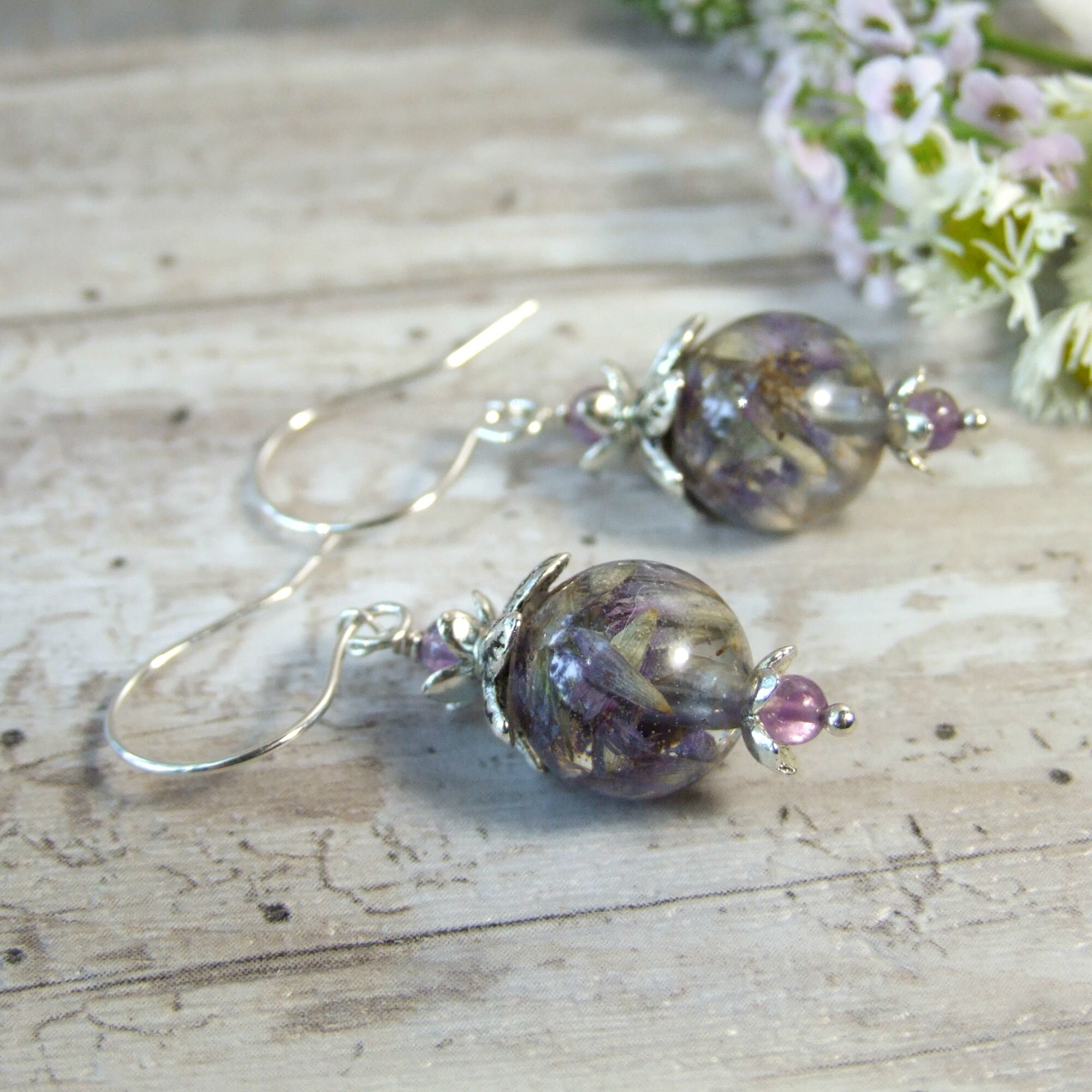 Anise Hyssop Real Purple Wildflower Dangle Earrings with Amethyst