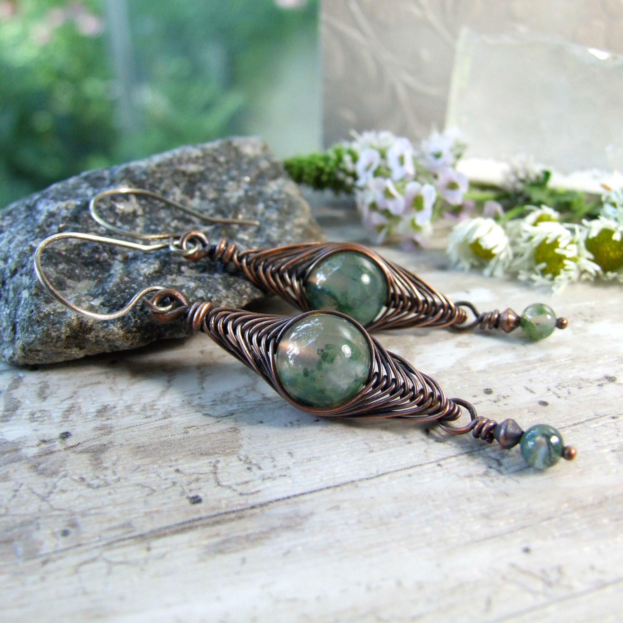 Copper Wire Herringbone Green Moss Agate Dangle Earrings