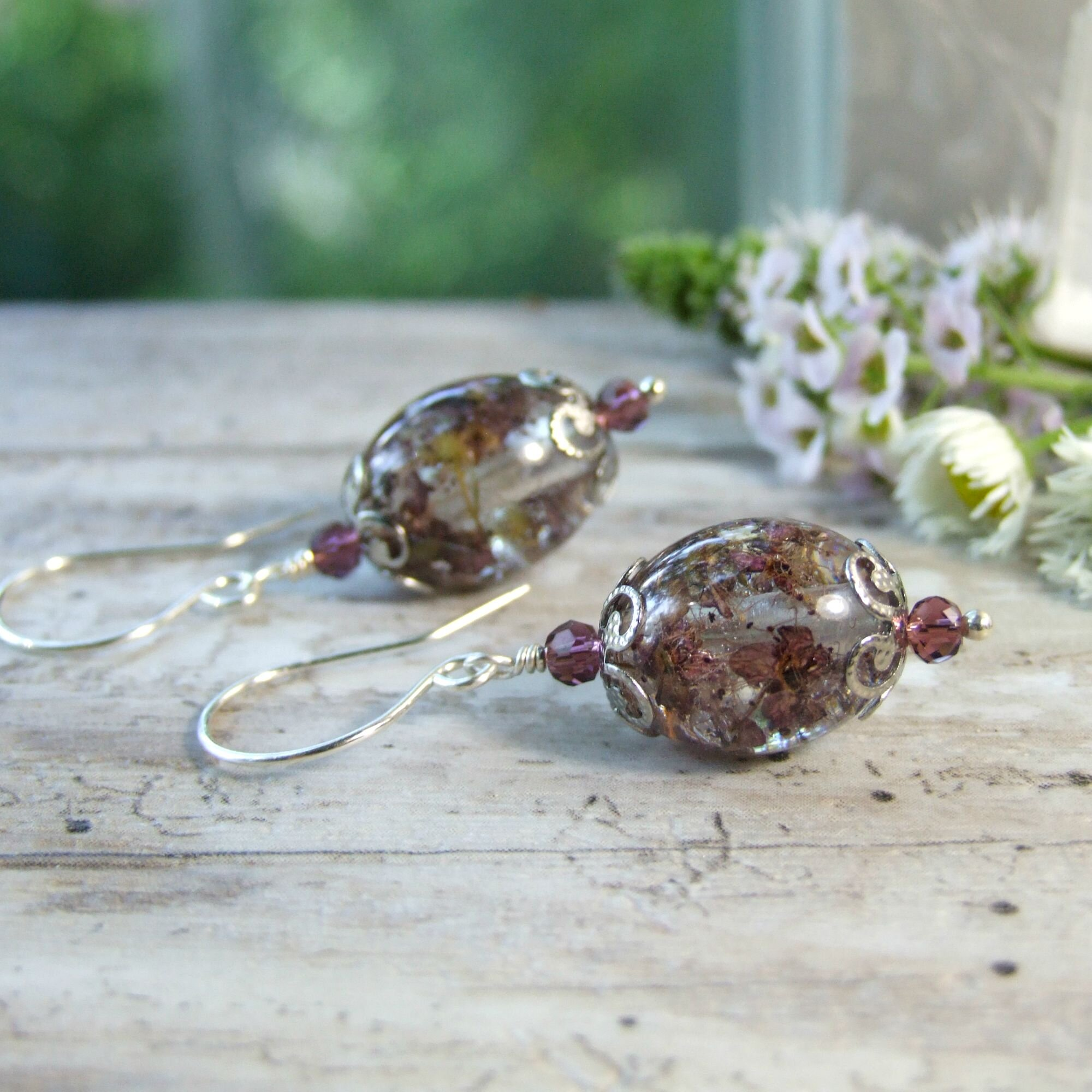 Mauve Pink Real Pressed Flowers in Resin Drop Earrings