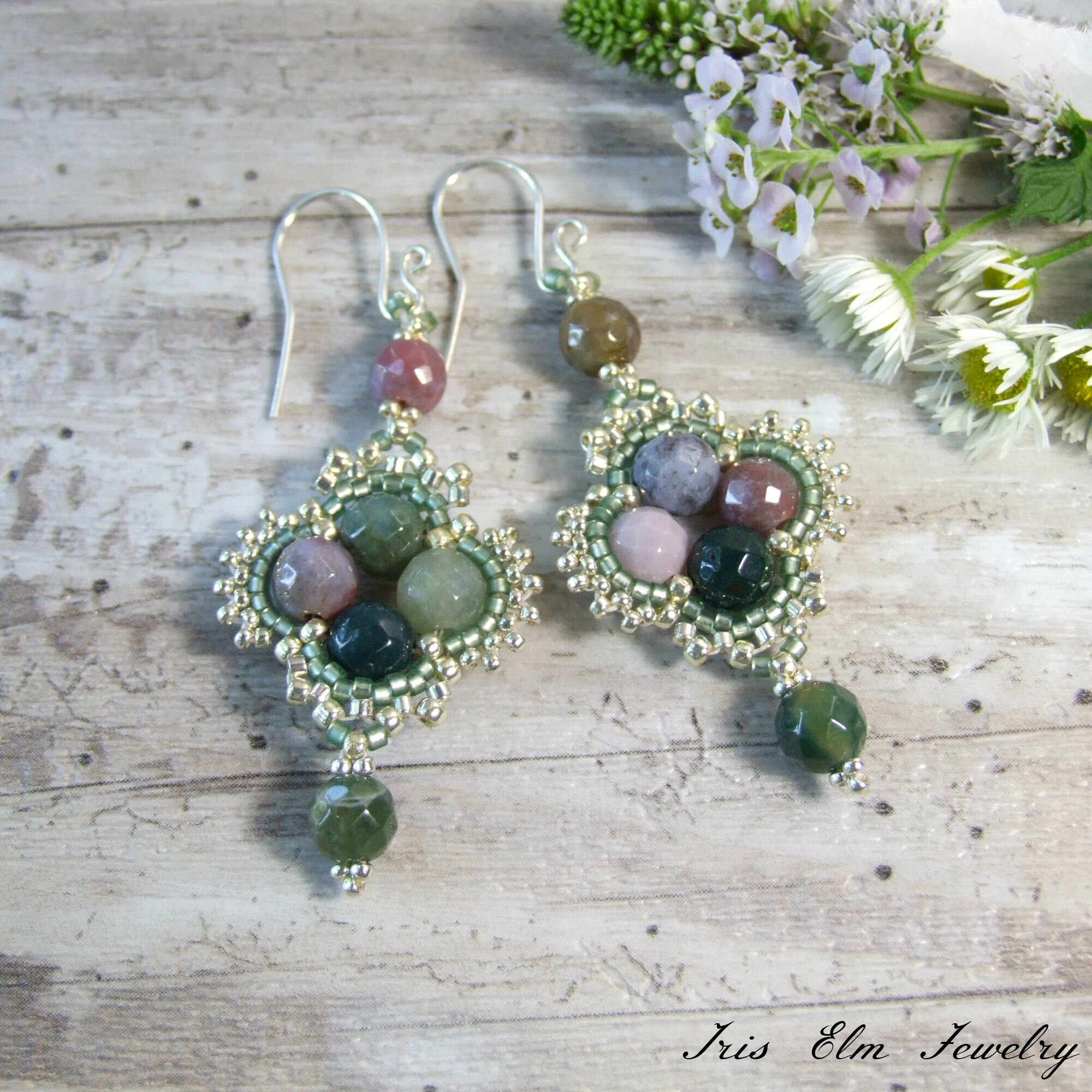 Unique Bohemian Indian Agate Earrings
