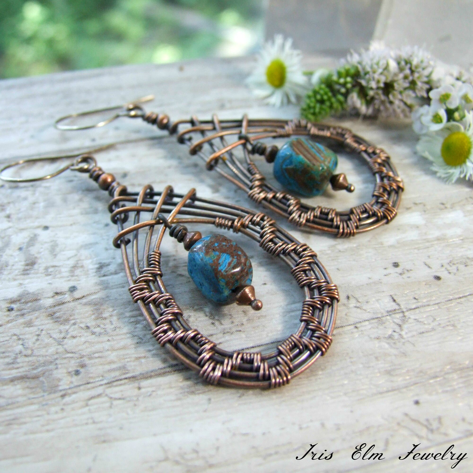 Blue Sky Jasper Copper Wire Woven Boho Teardrop Earrings