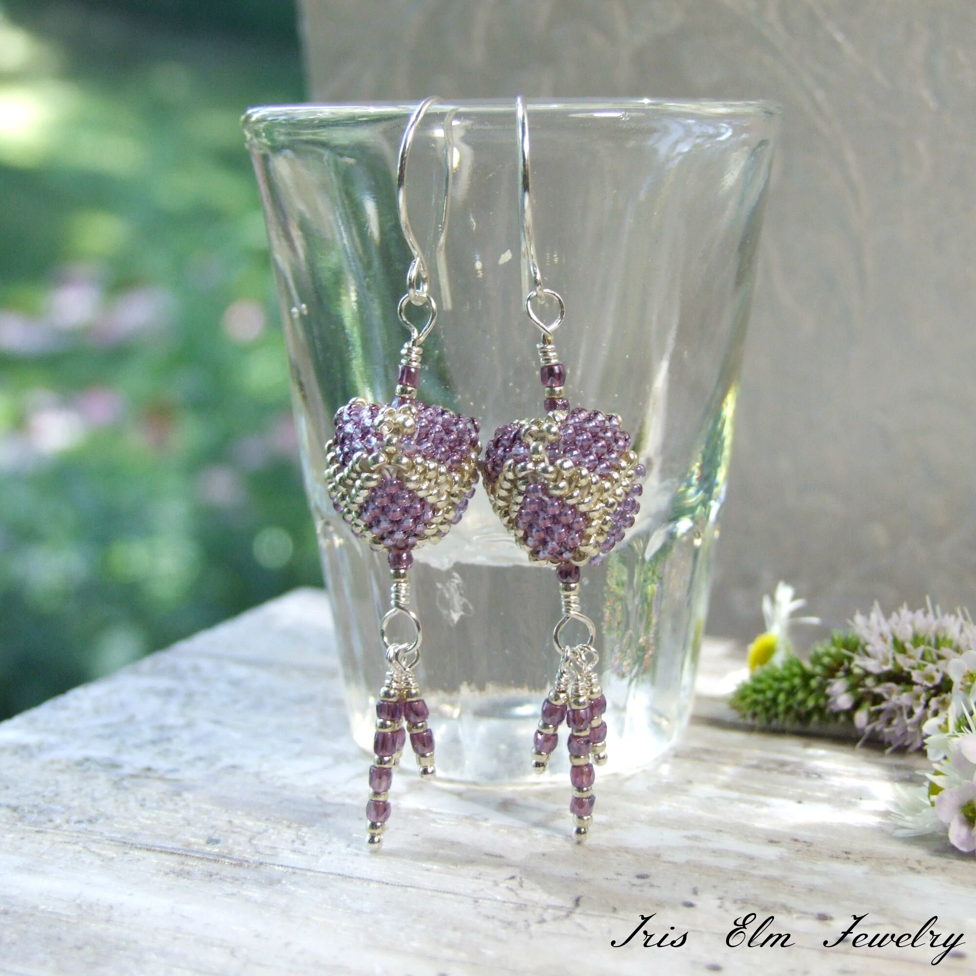 Purple & Silver Beadwoven Glass Triangle Dangle Earrings