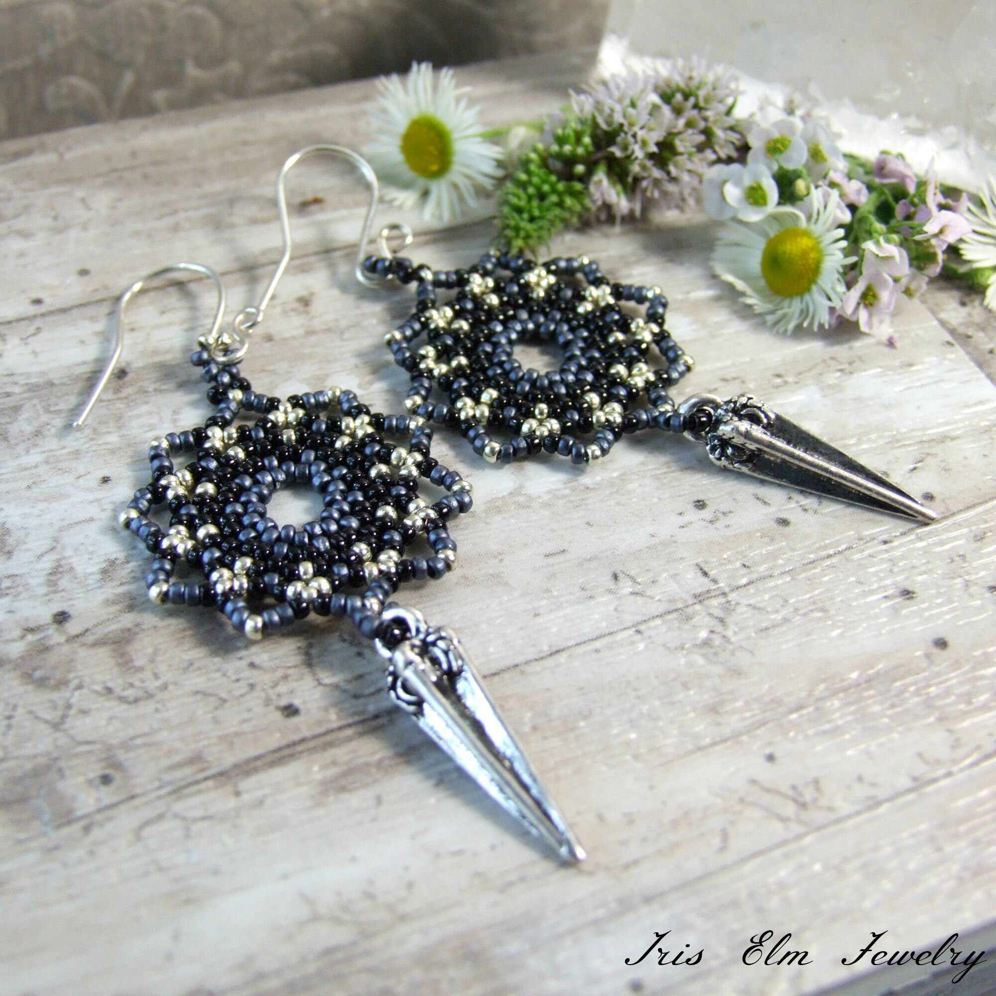 Black & Blue-Grey Woven Mandala Bohemian Silver Spike Earrings