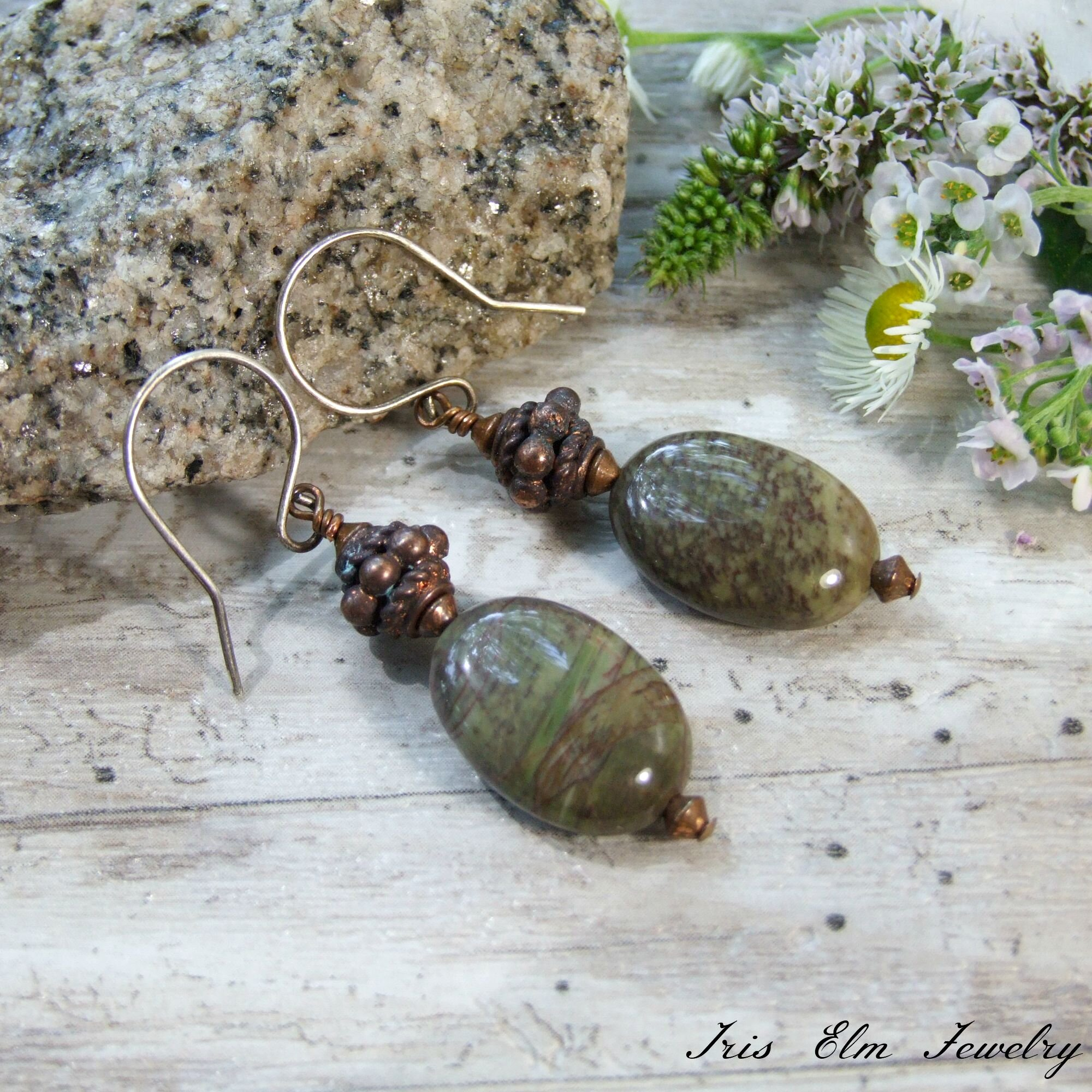 Green Sierra Agate Earthtone Dangle Earrings