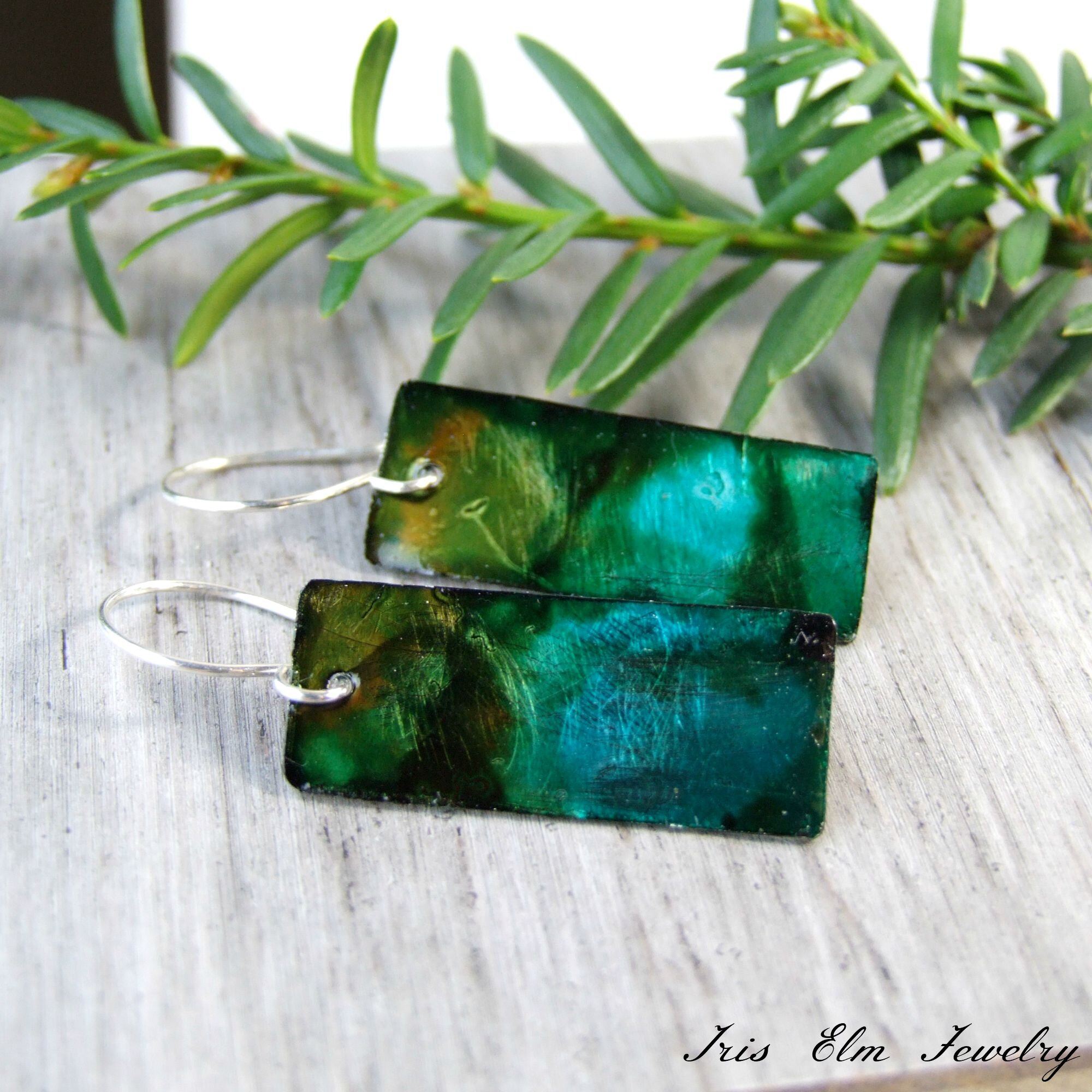 Green Alcohol Ink Dyed Metal Earrings