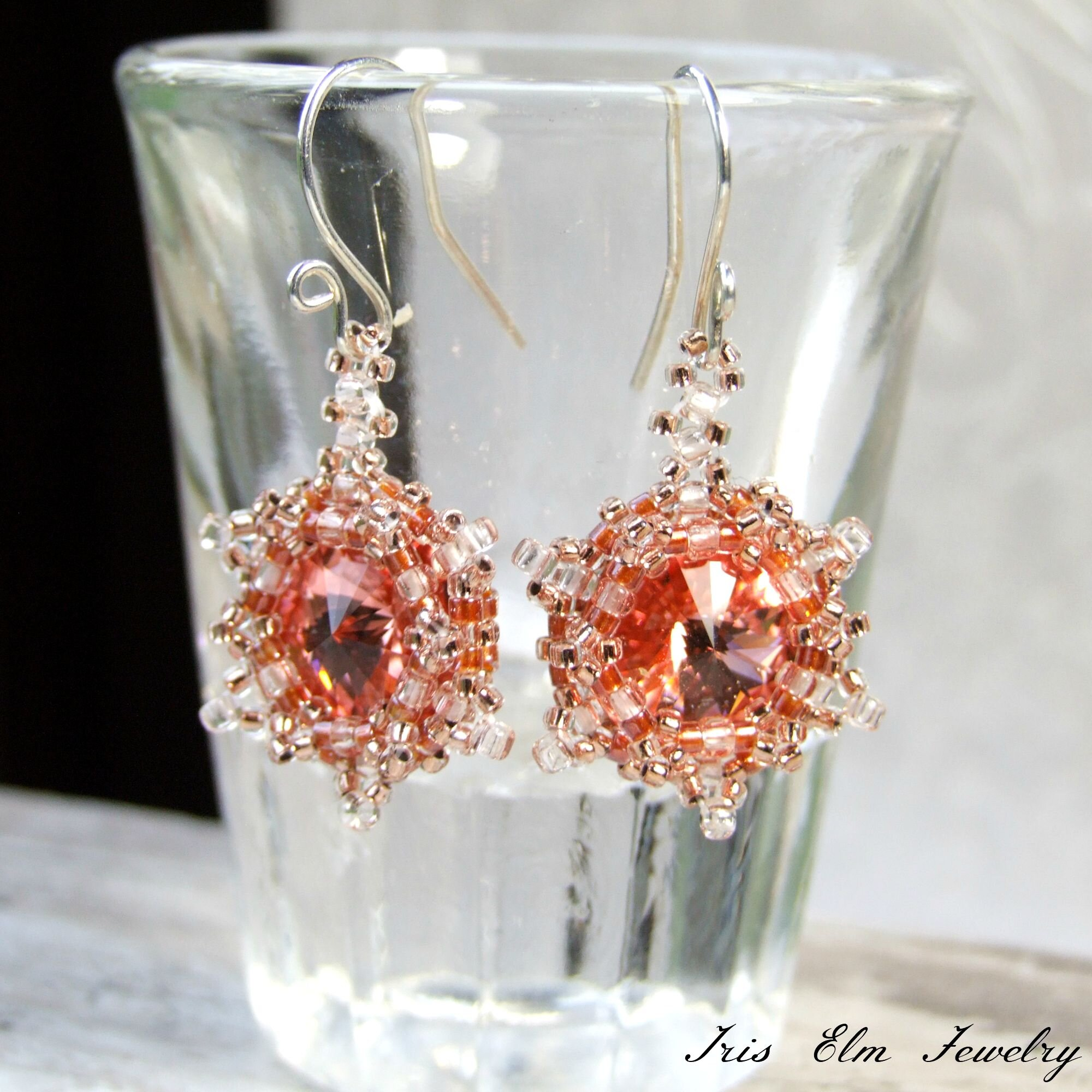 Rose Peach Crystal Beadwork Drop Earrings