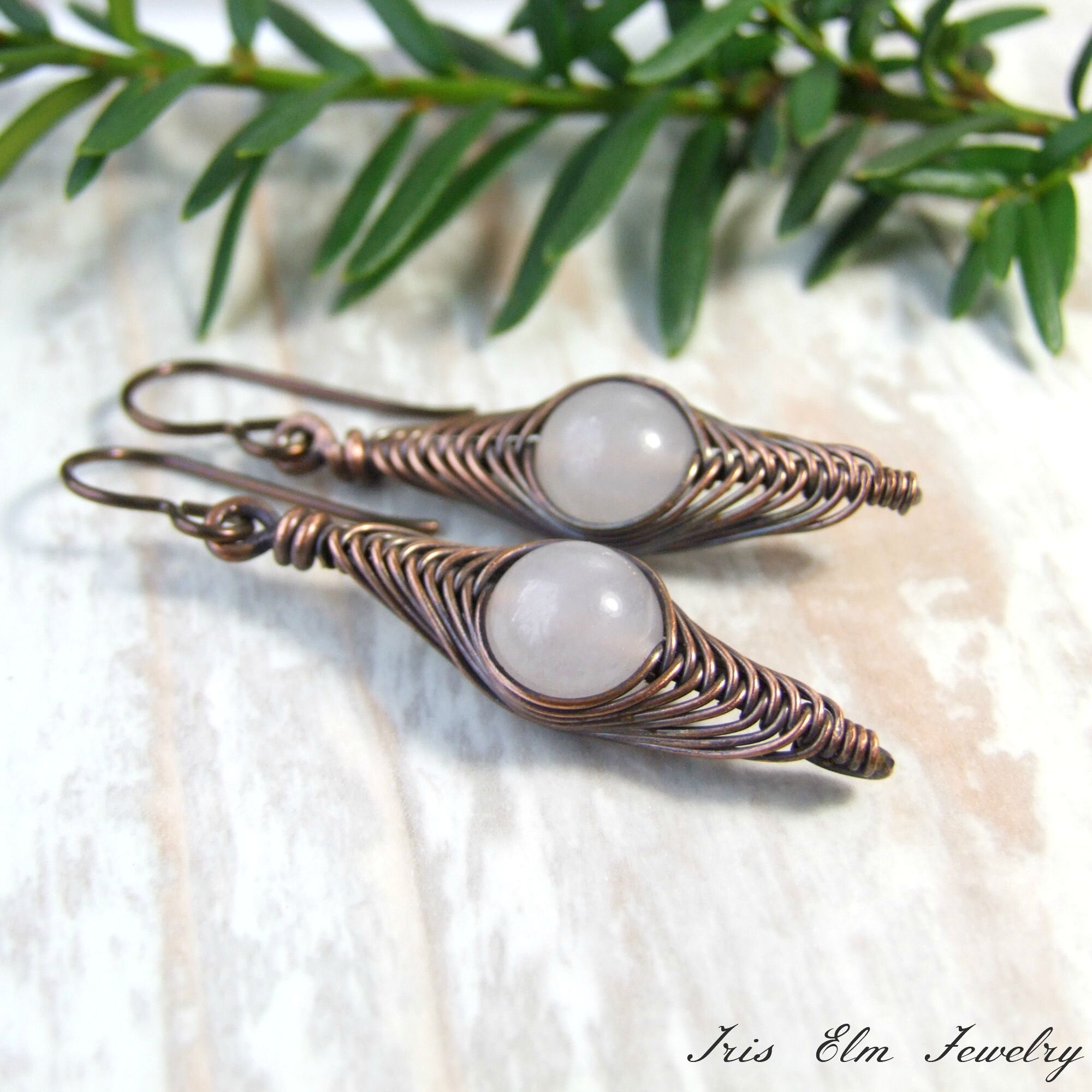 White Snow Quartz Herringbone Copper Wire Earrings