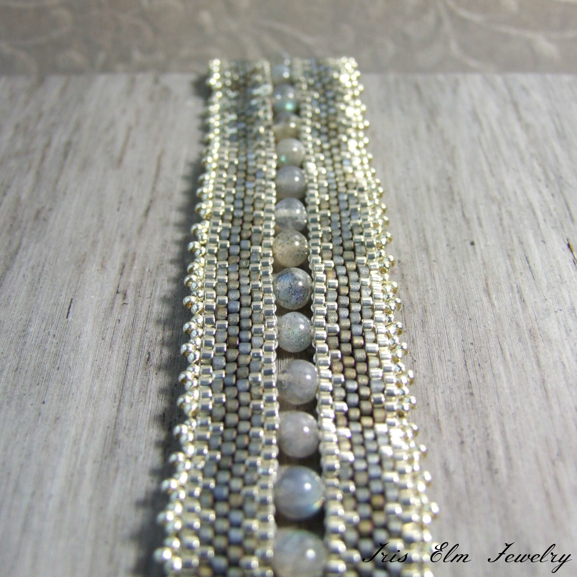 Boho Beaded Grey Labradorite Bracelet