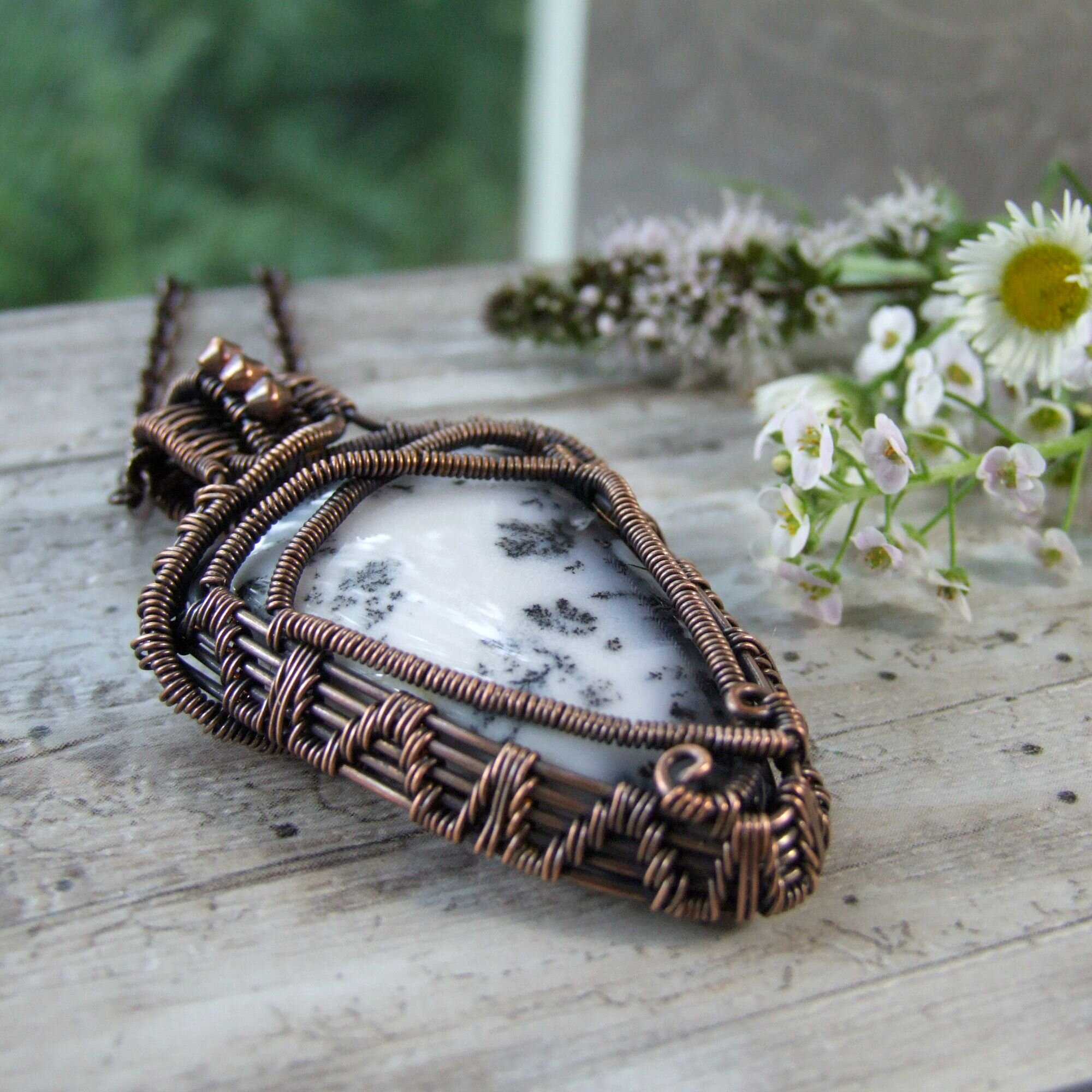 Black & White Dendritic Agate Copper Wire Wrapped Boho Pendant Necklace