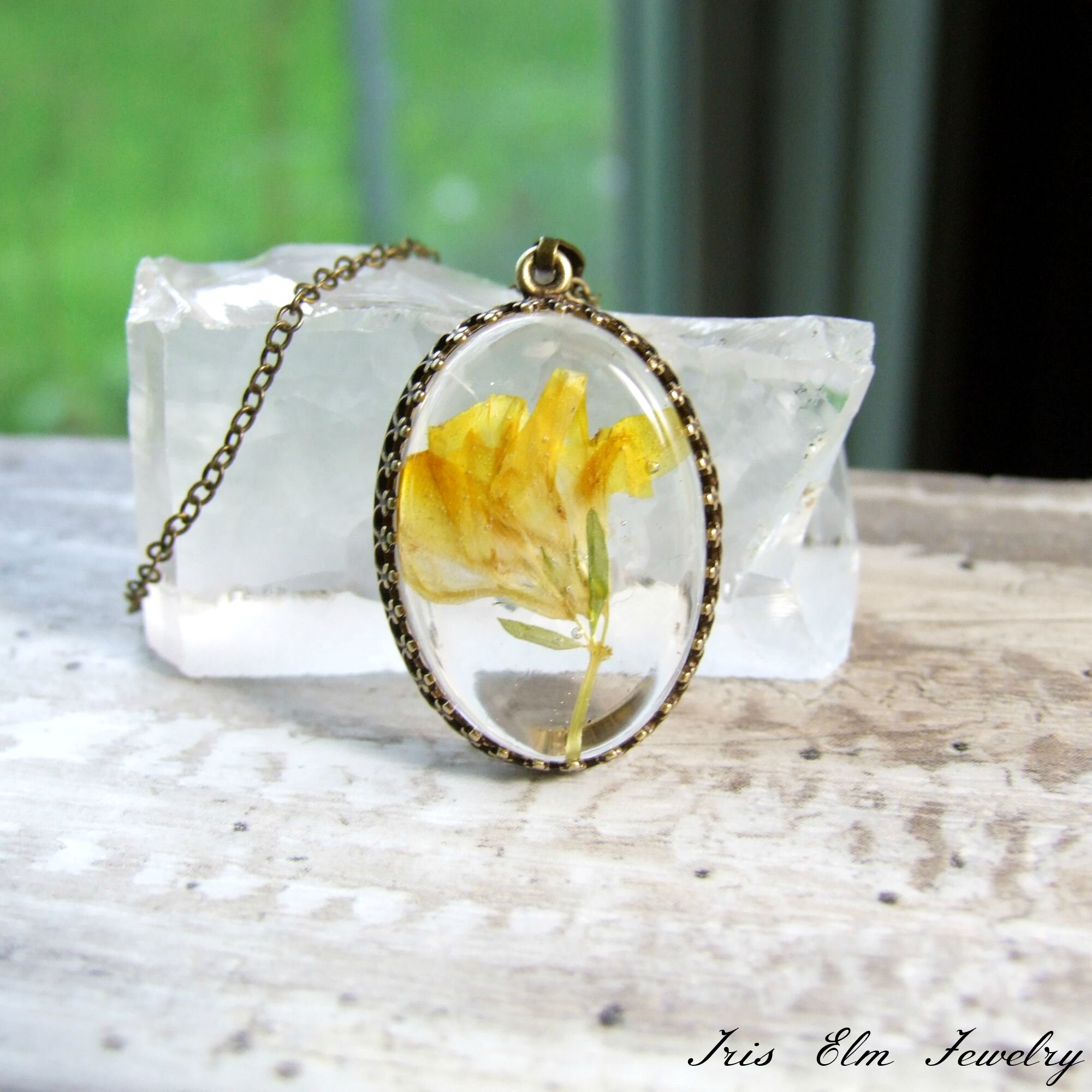 Yellow Trefoil Wildflower Pendant Necklace