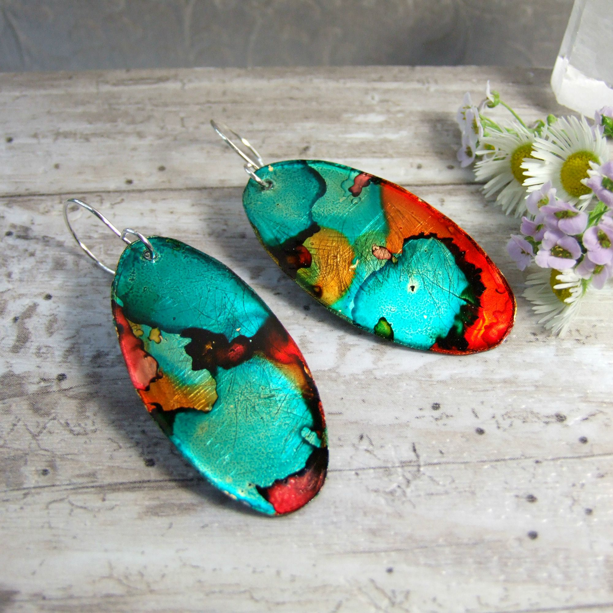 Red-Orange & Green Oval Alcohol Ink Abstract Earrings