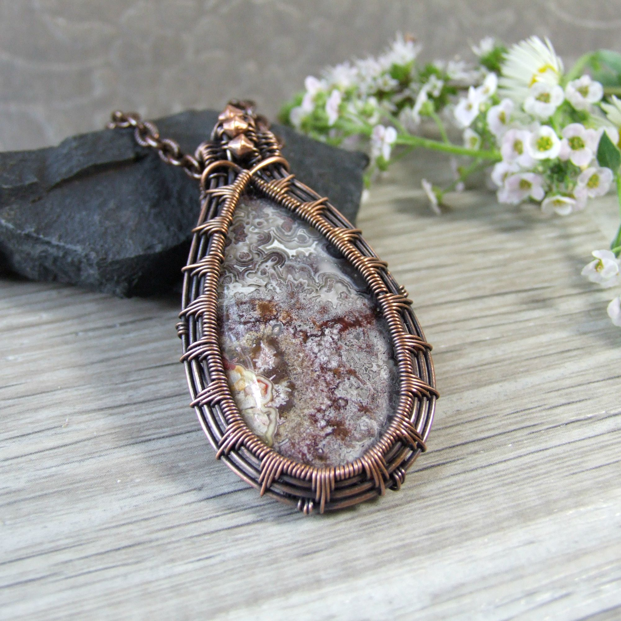 Crazy Lace Agate Copper Wire Teardrop Pendant Necklace