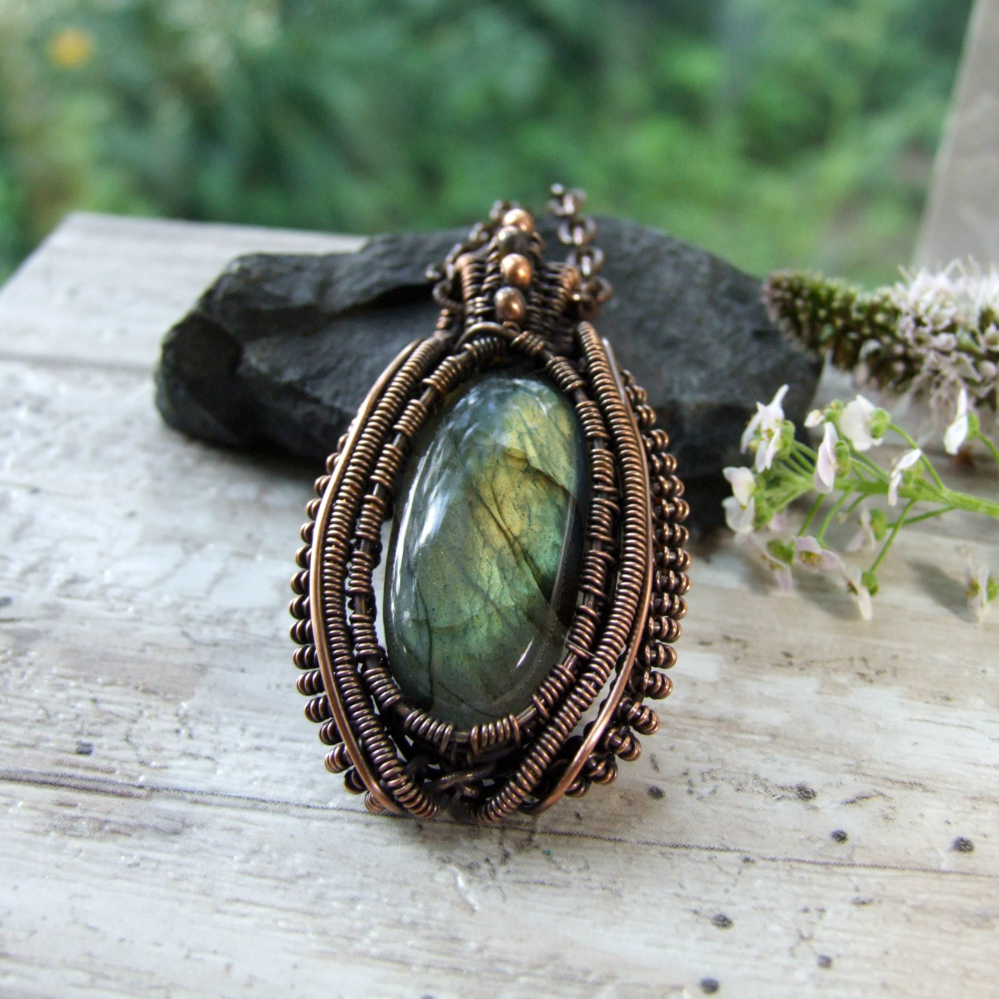 Bohemian Labradorite Copper Coiled Wire Wrapped Pendant Necklace