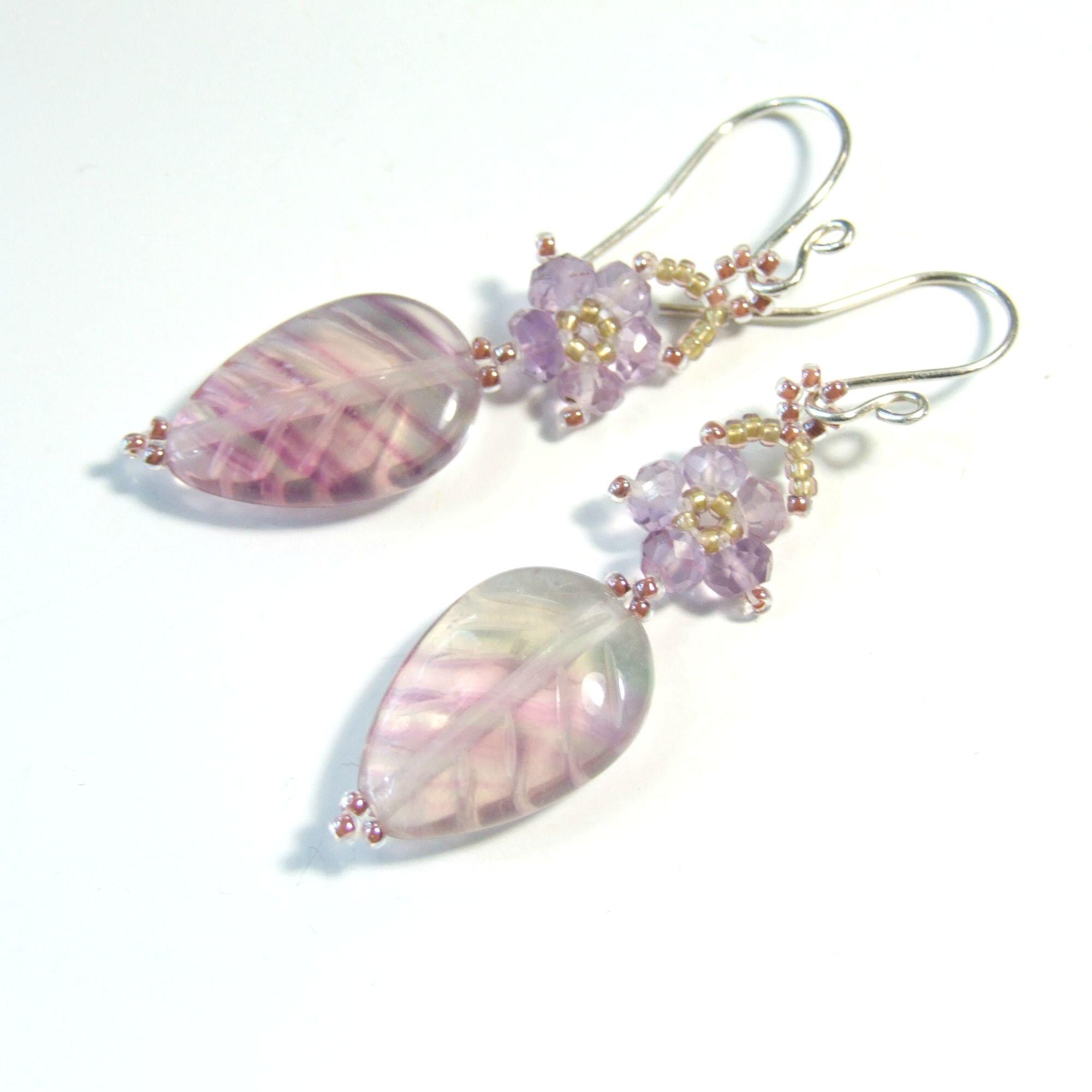Rainbow Fluorite & Amethyst Flower Earrings