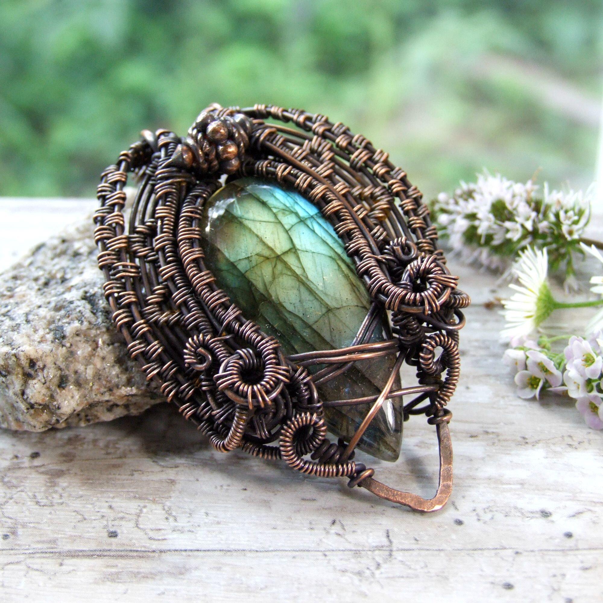 Boho Labradorite Copper Wire Wrapped Statement Necklace