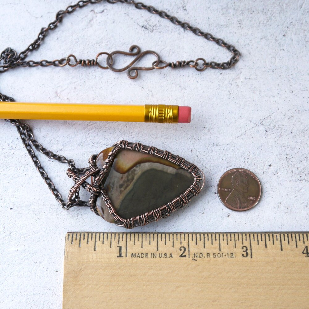 Polychrome Jasper Pendant Desert Jasper Wire Wrapped Necklace