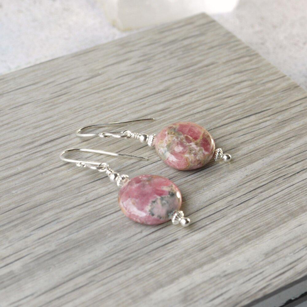 Valentines Gifts Rhodochrosite Earrings Oval earrings Pink Earrings Gemstone Earrings Gift for Her Pink Rhodochrosite Rhodochrosite