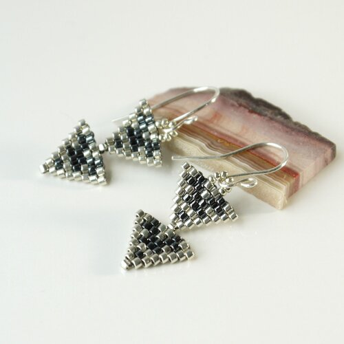 silver or golden tin Earrings on stems handcrafted