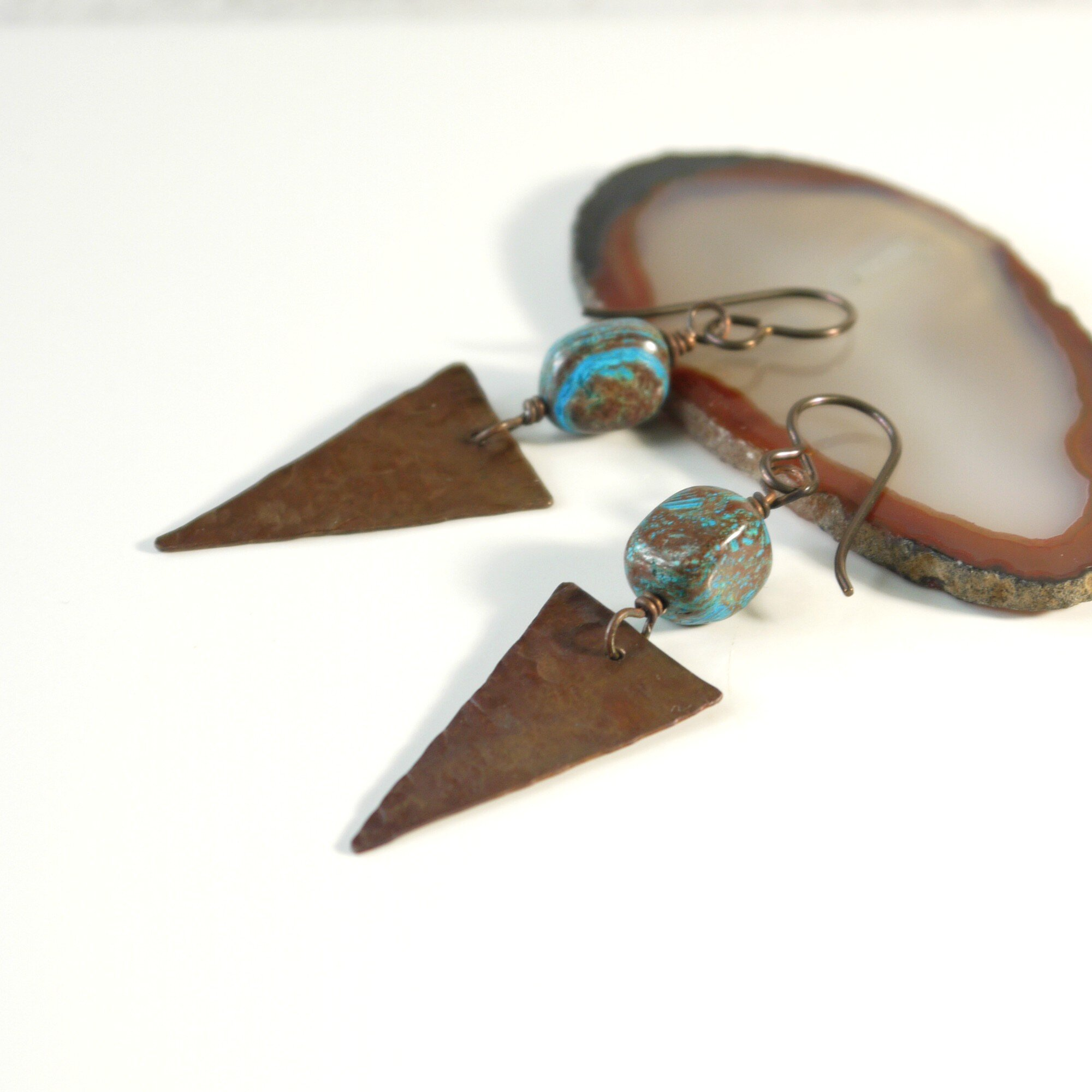 Small hammered sterling silver genuine turquoise stone rustic dangle hoop earrings