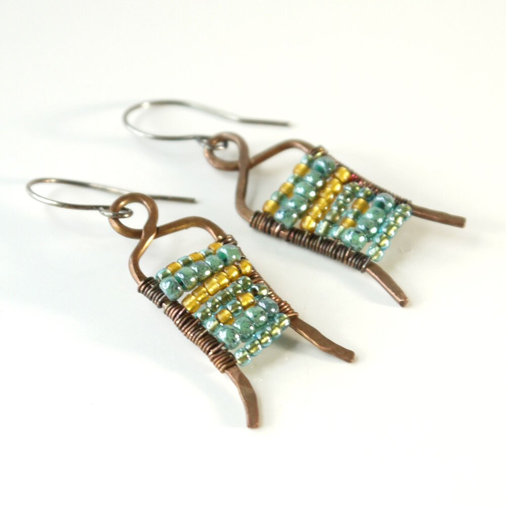 boho glass earrings sand and copper blue-green tones