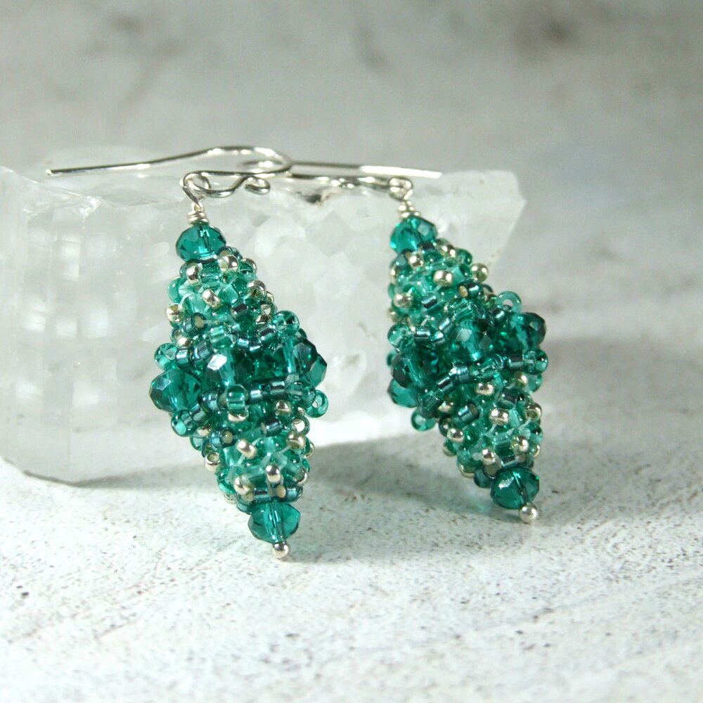 Faceted Green Turquoise Bead Earrings