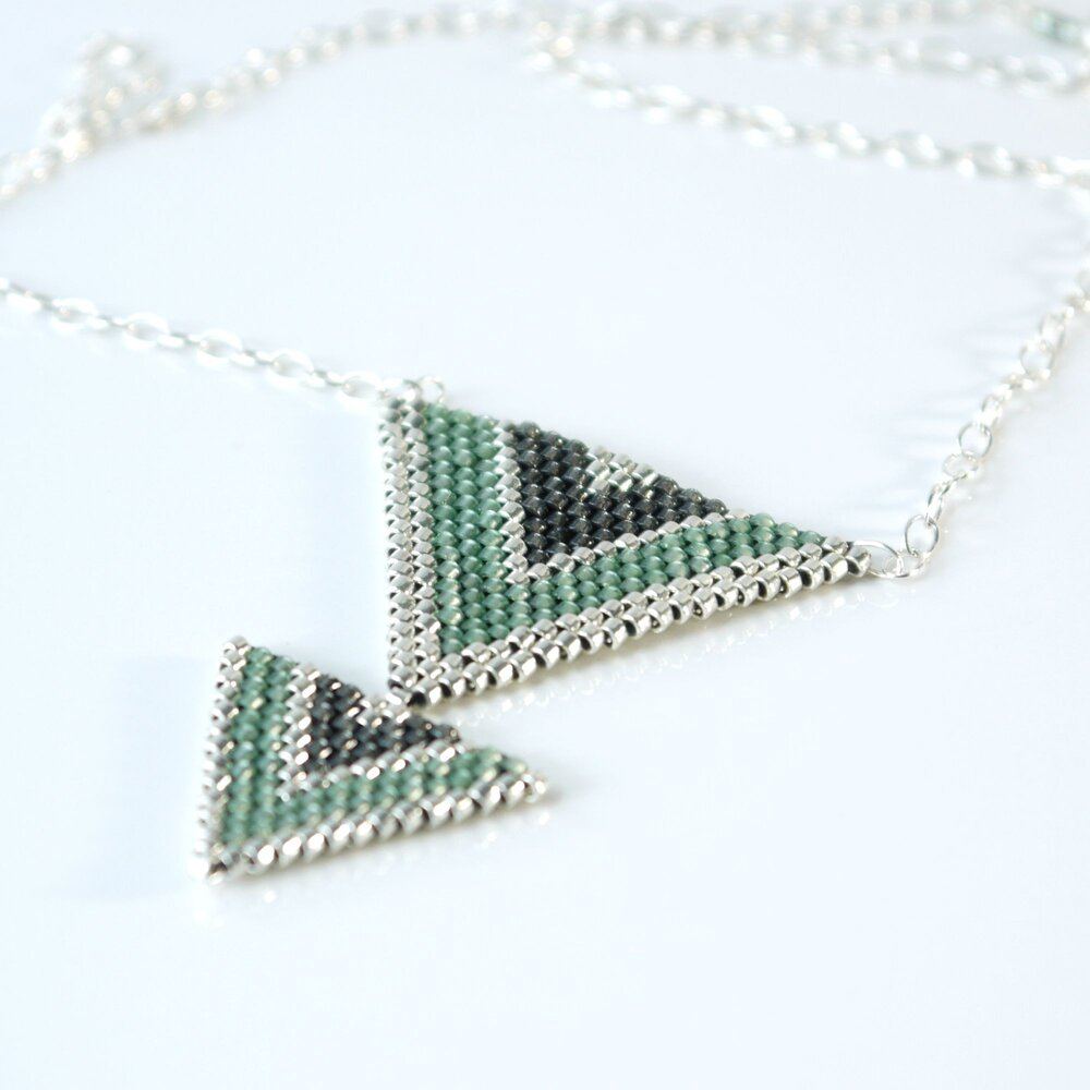 Triangle woven with miyuki beads necklace.