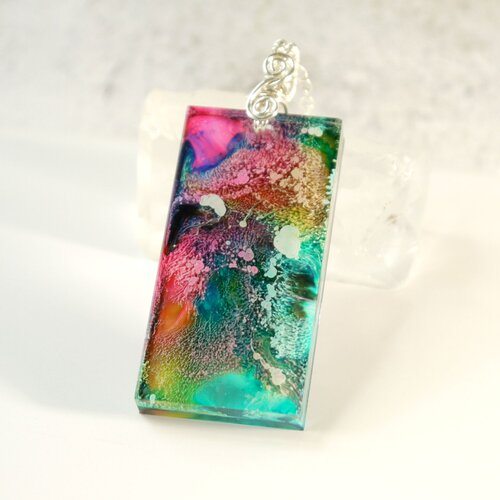 Moon necklace Alcohol ink pendant. Resin necklace