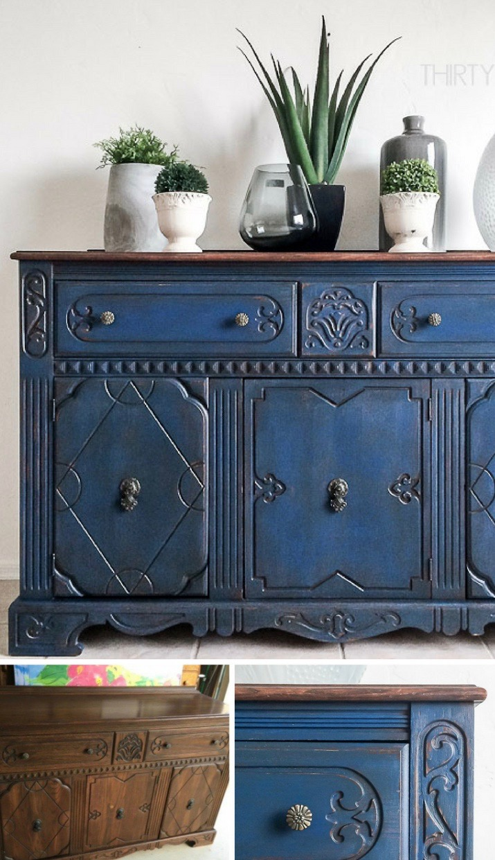 Refinishing by thirtyeightstreet.com. A find on Craigslist turned into a conversation piece! In its original state this cabinet is ugly even though it has some interesting details. Applying the blue colour and redoing the top brings out the details so much better!