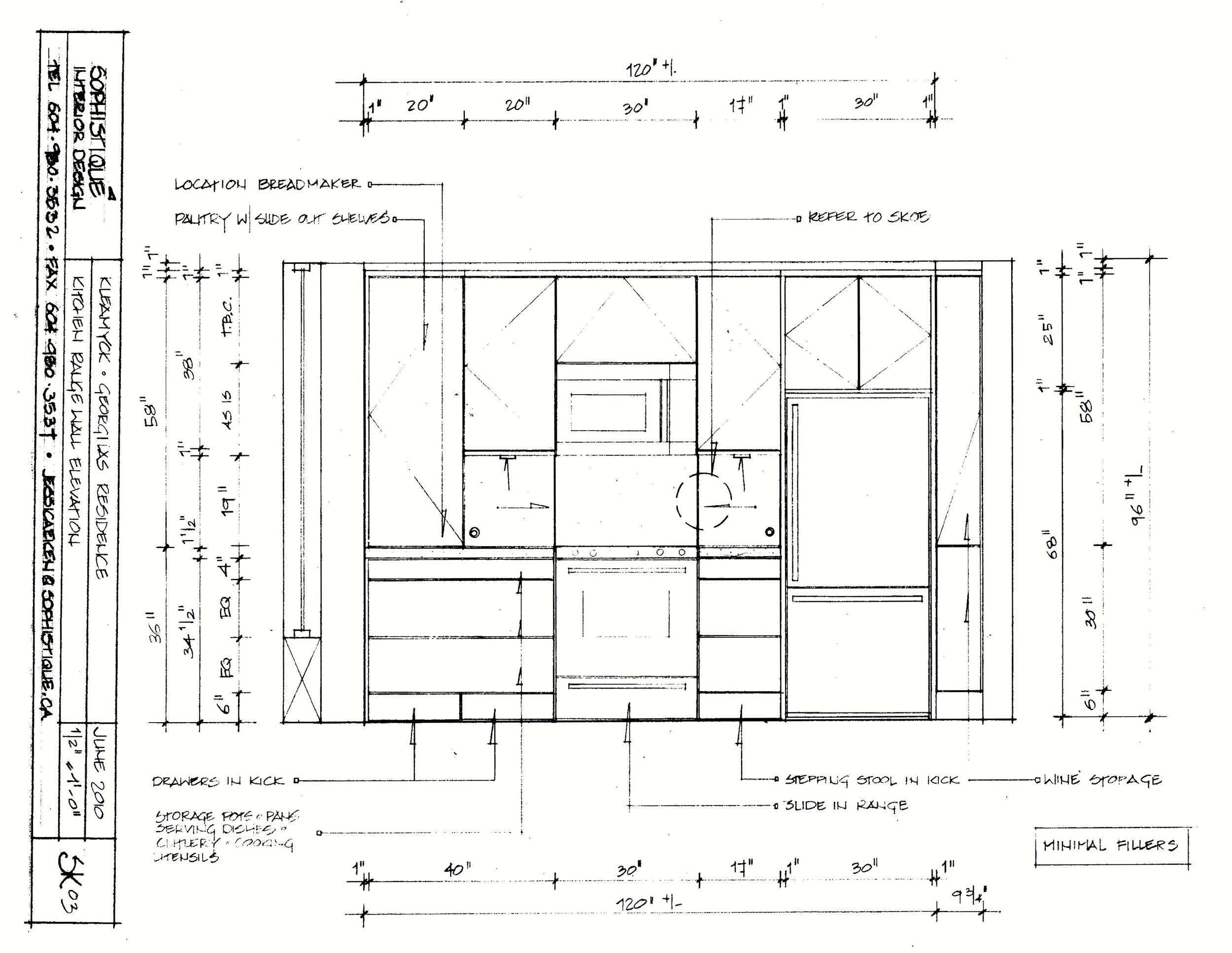 Condo Kitchen Renovation. The copy of the drawing shows that hand-drafting obviously not produce equal line thickness like computer drawings do, although this is not noticeable in the original pencil drawing. This variation is also not noticeable in 'blue prints'.
