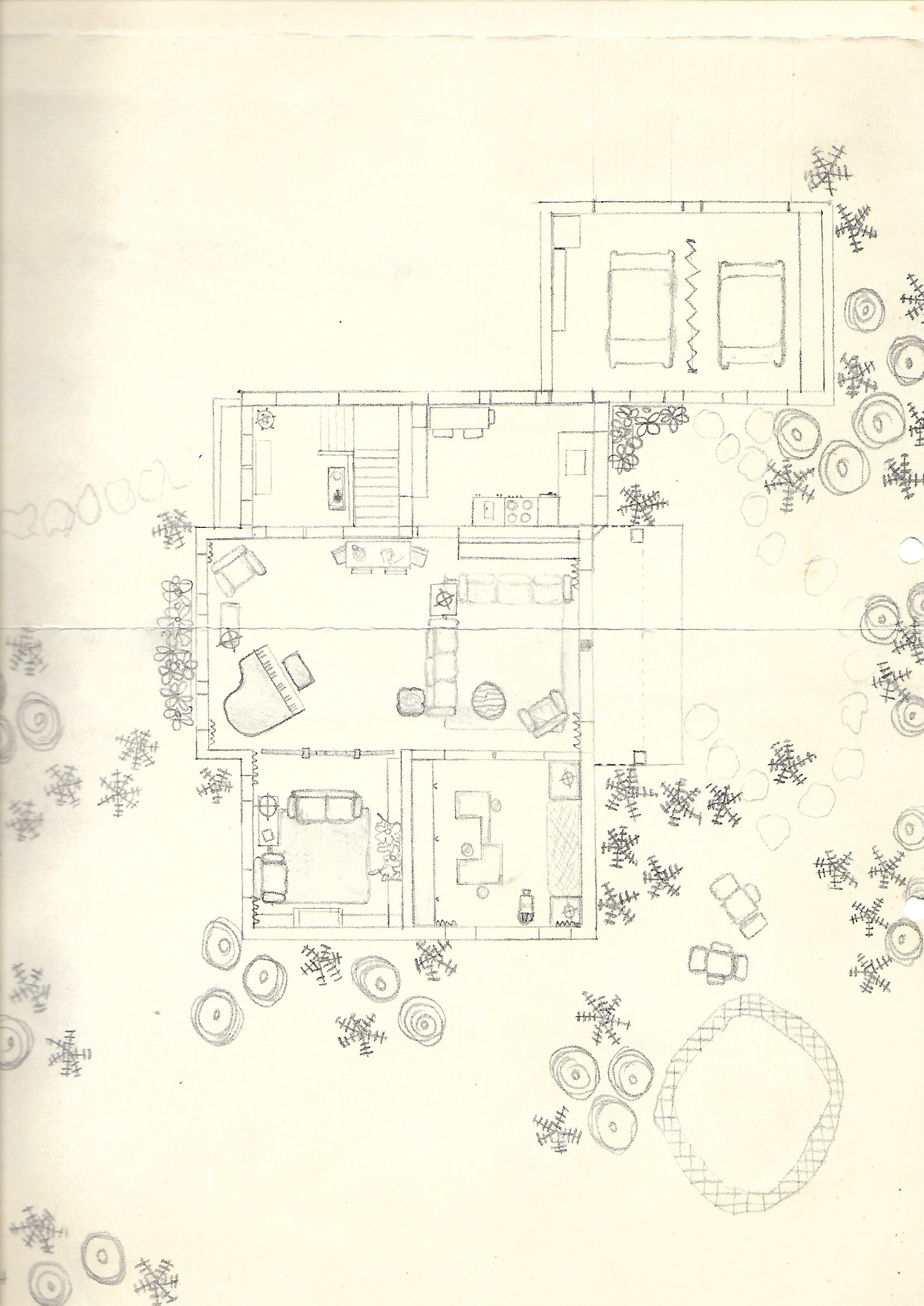An early drawing going back to my late teenage years. Hah, even the stairs had the right amount of treads. Looking at this drawing today, I am full of wonder how much I knew about floor plans at that age…..