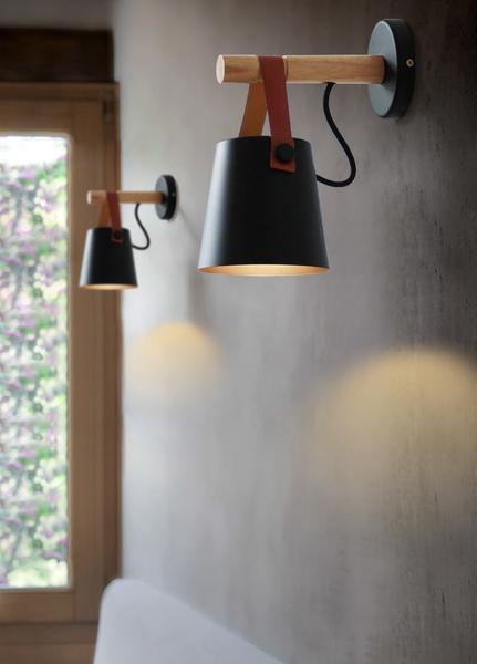 Nordic Hanging Wall Lamp by Warmly. Wood & Metal Body with Leather Accents