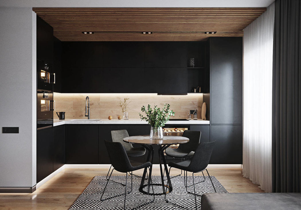 Source: Bellas Artes. How beautiful the black elements are coordinated in this streamlined kitchen. Not overpowering, not somber but just enough to showcase the sleek lines in this design. The dark colours are softened by the wood floor and ceilings and the warm tones in the backsplash. Very European looking!