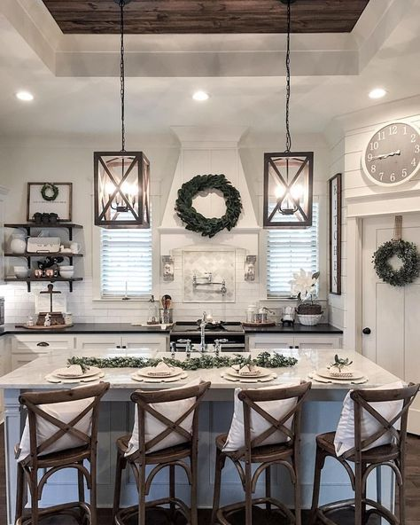 Source: The Refined Farm House (US). I have never understood the need for putting bar stools at an angle. To me it is an annoying display. You see it a lot in showrooms and real estate notices….
