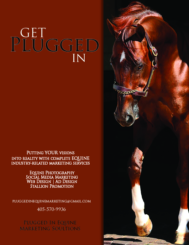 Full page ad for Plugged In Equine Marketing