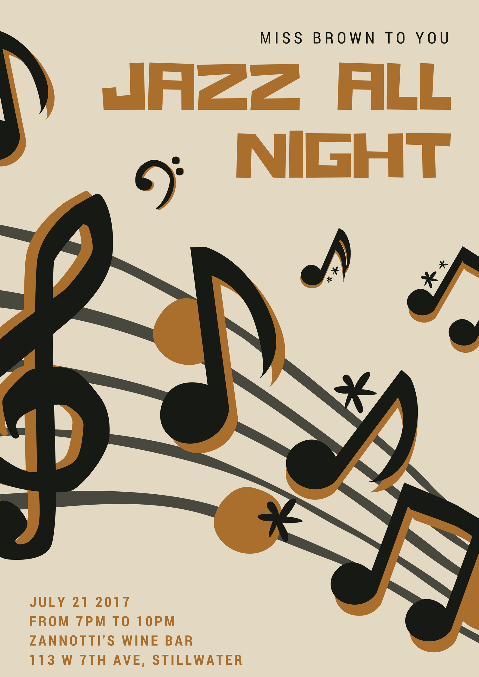 Black and Cream Music Notes Jazz Poster.png
