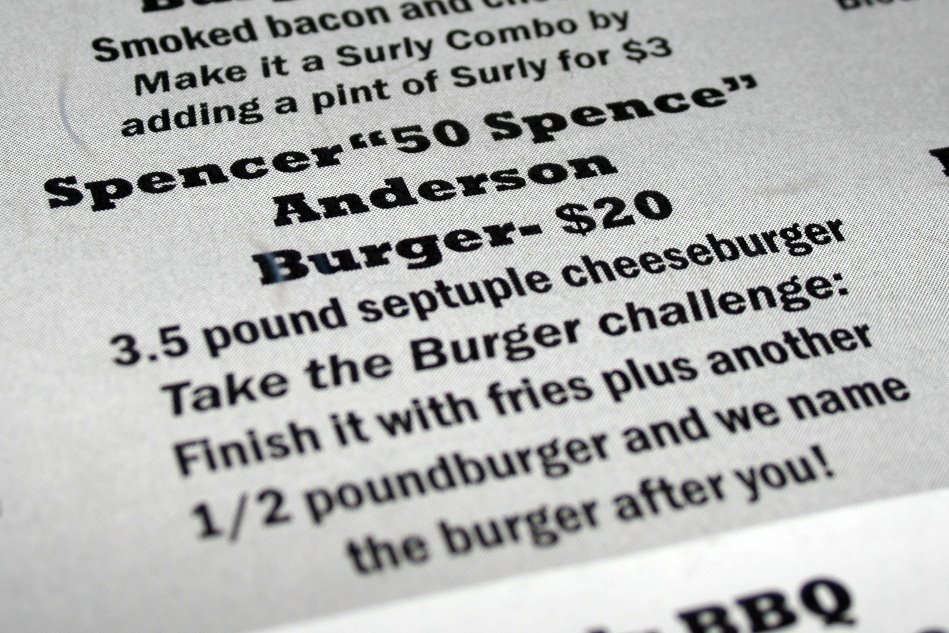 The burger was 2.5 pounds when I first decided to make the attempt. It was beaten (and increased) twice in the interim.