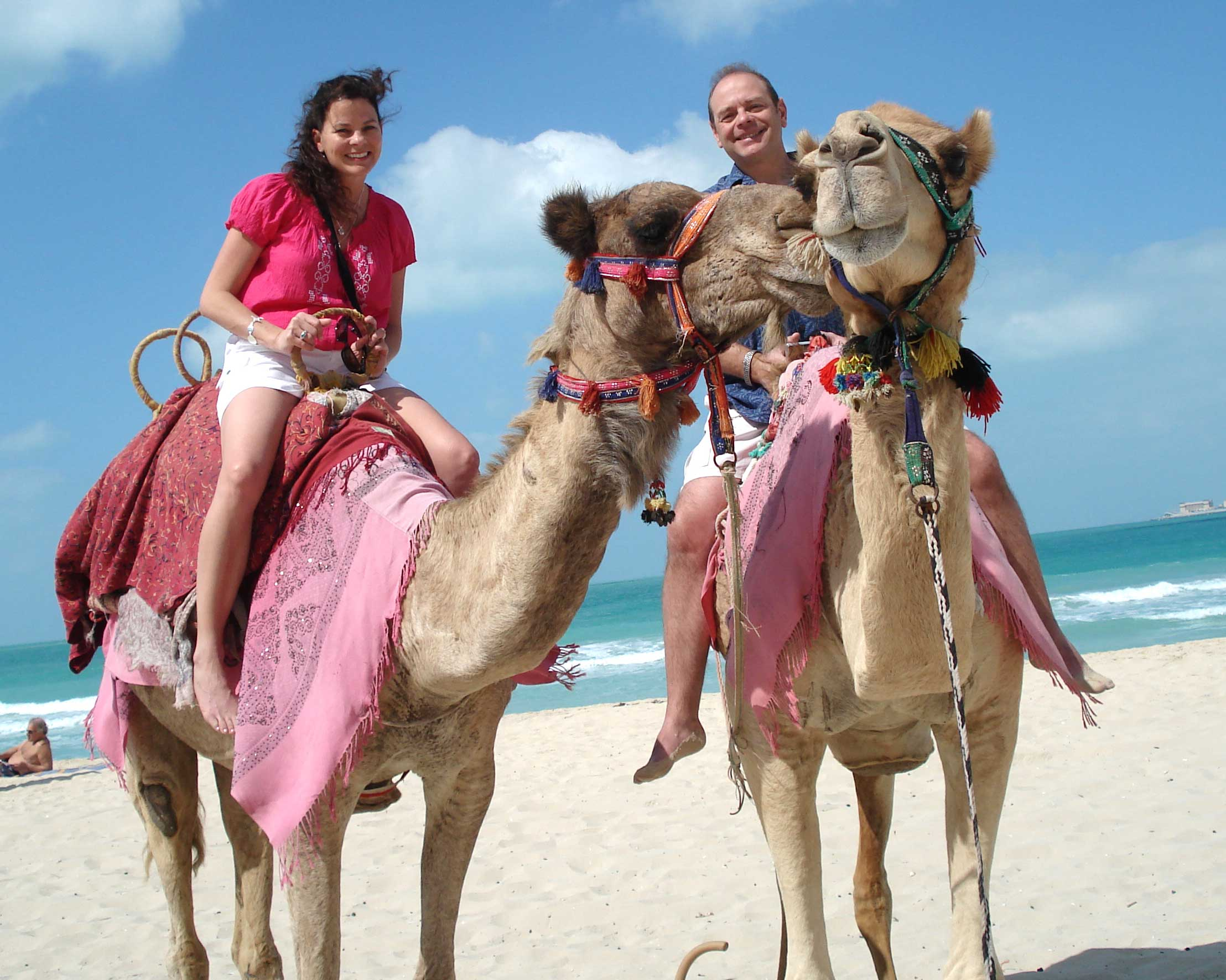 Riding camels in Dubai