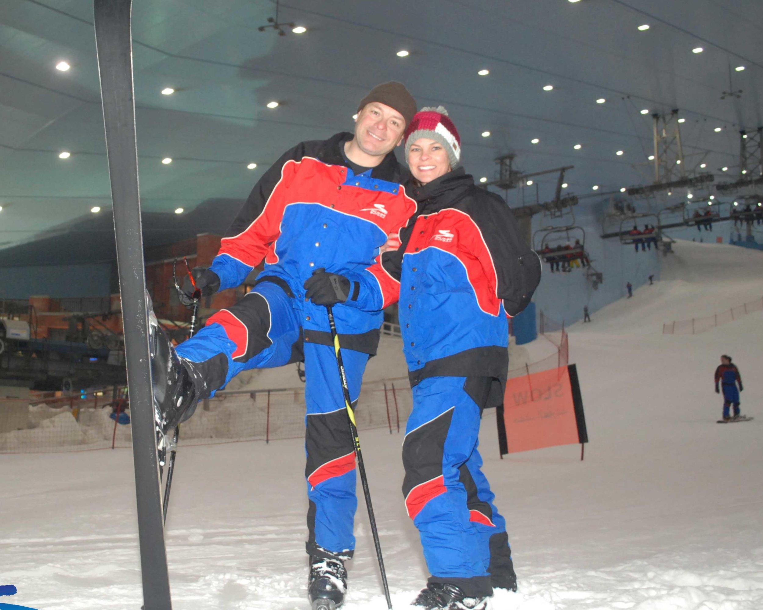 Fay and Sean skiing while in Dubai