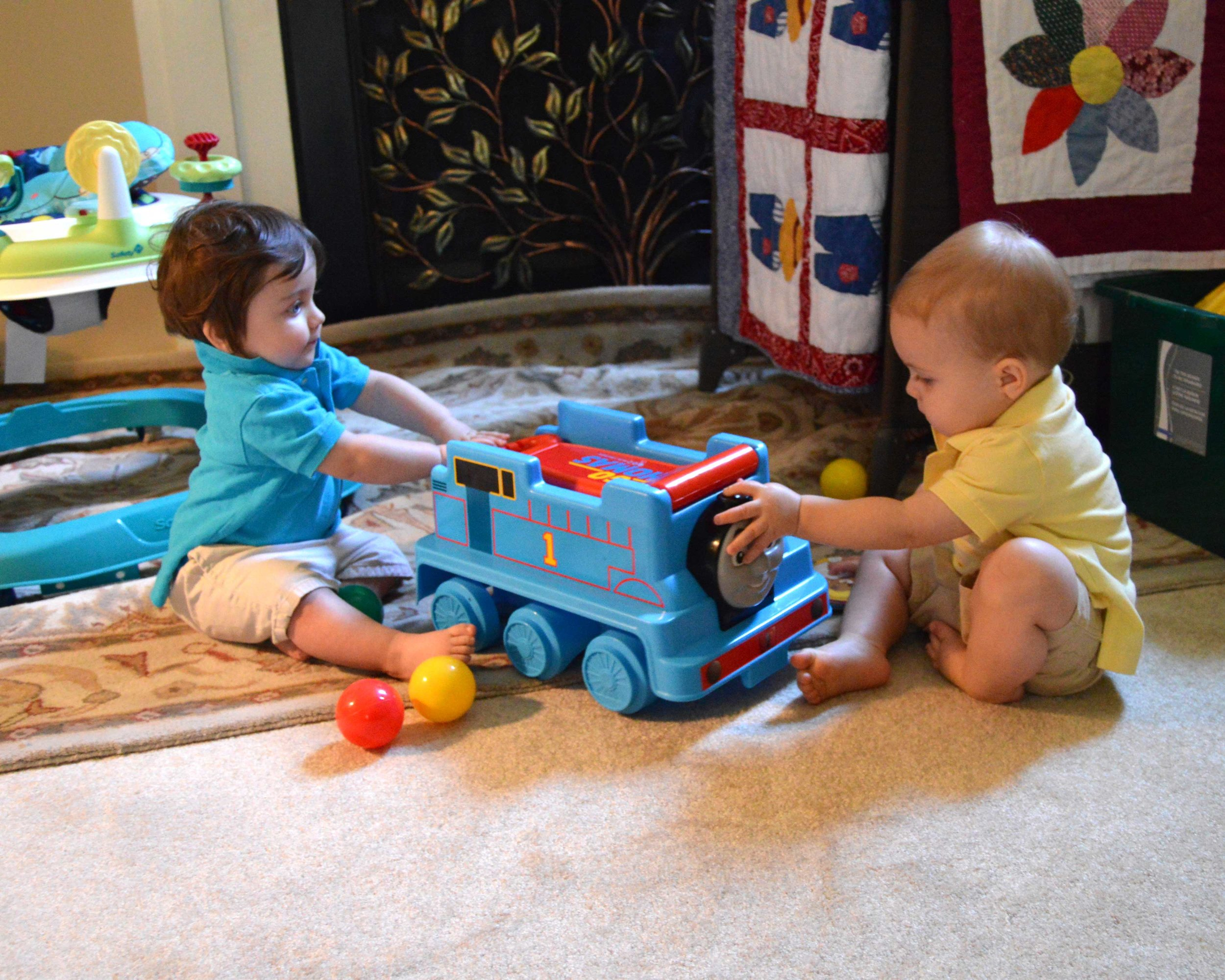 Benjamin playing with his friend, Jack
