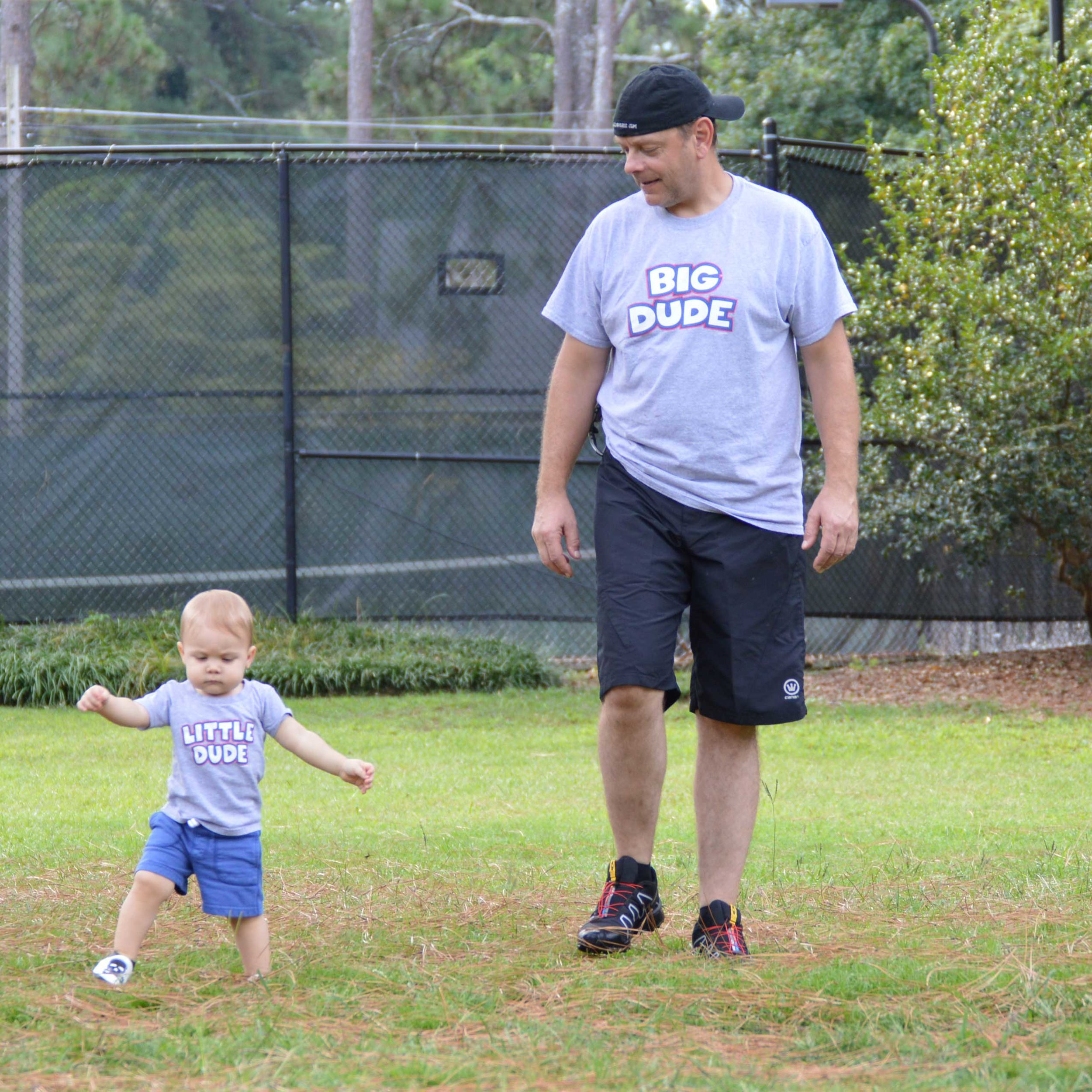 Sean and Benjamin walking in the park