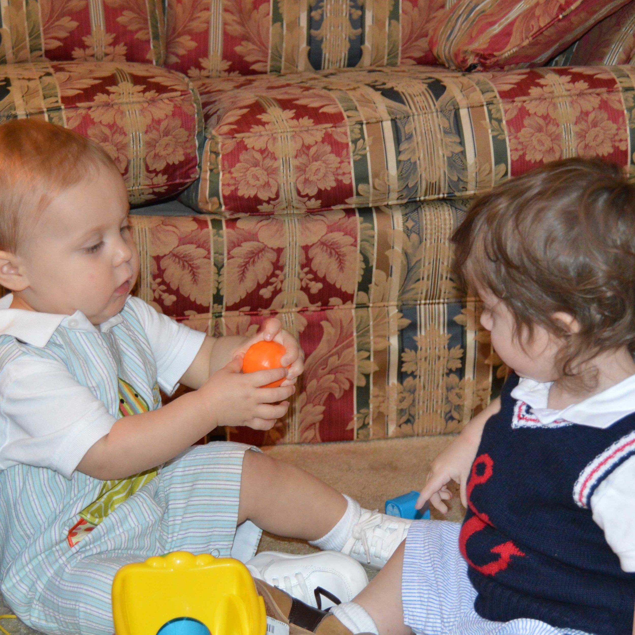Benjamin and his cousin playing