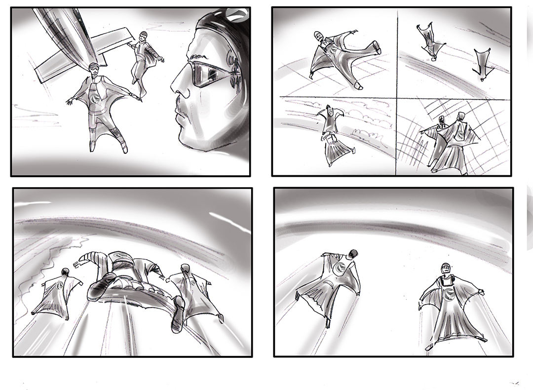 skydiving storyboard illustration